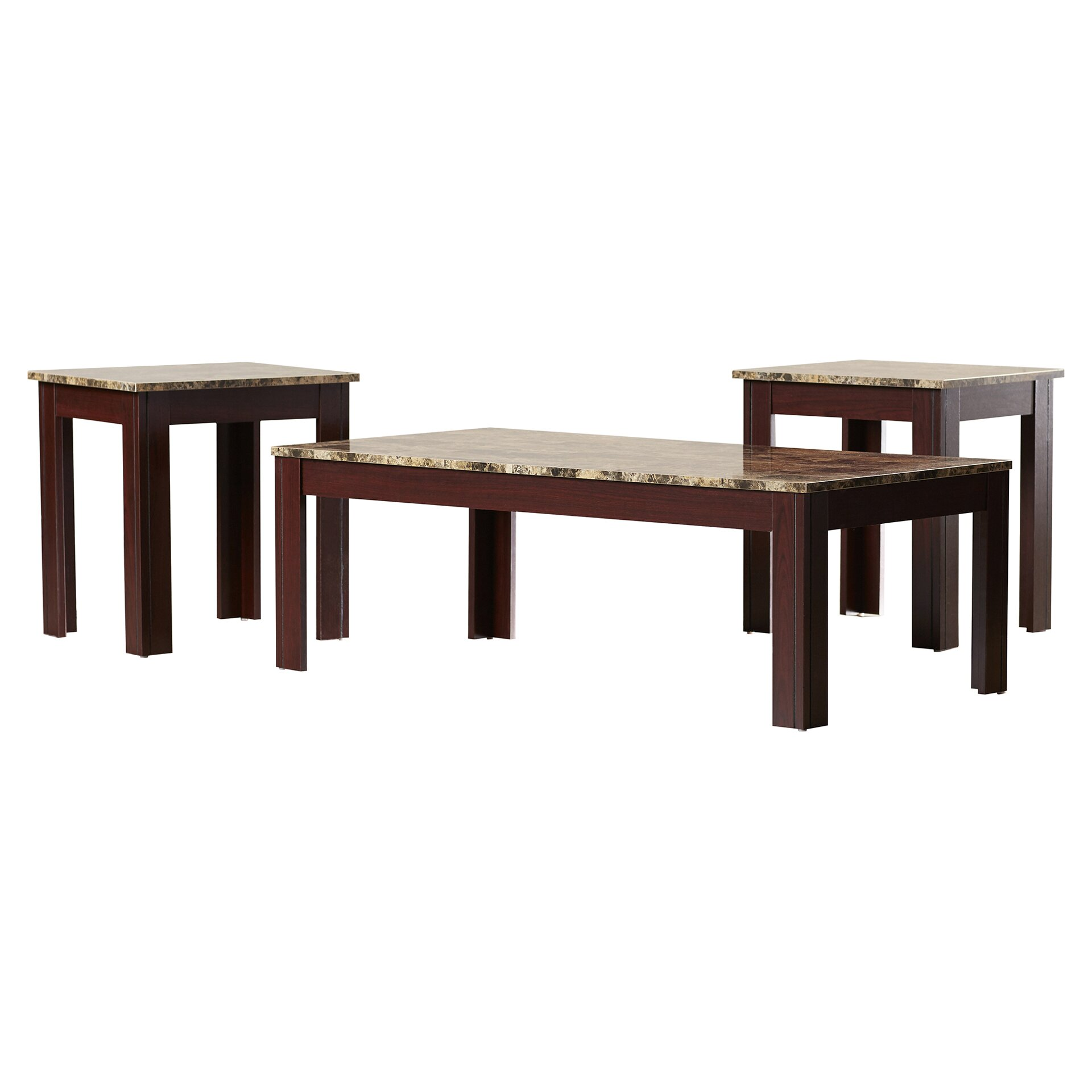 Charlton Home Colmer 3 Piece Coffee Table Set In Brown Reviews Wayfair