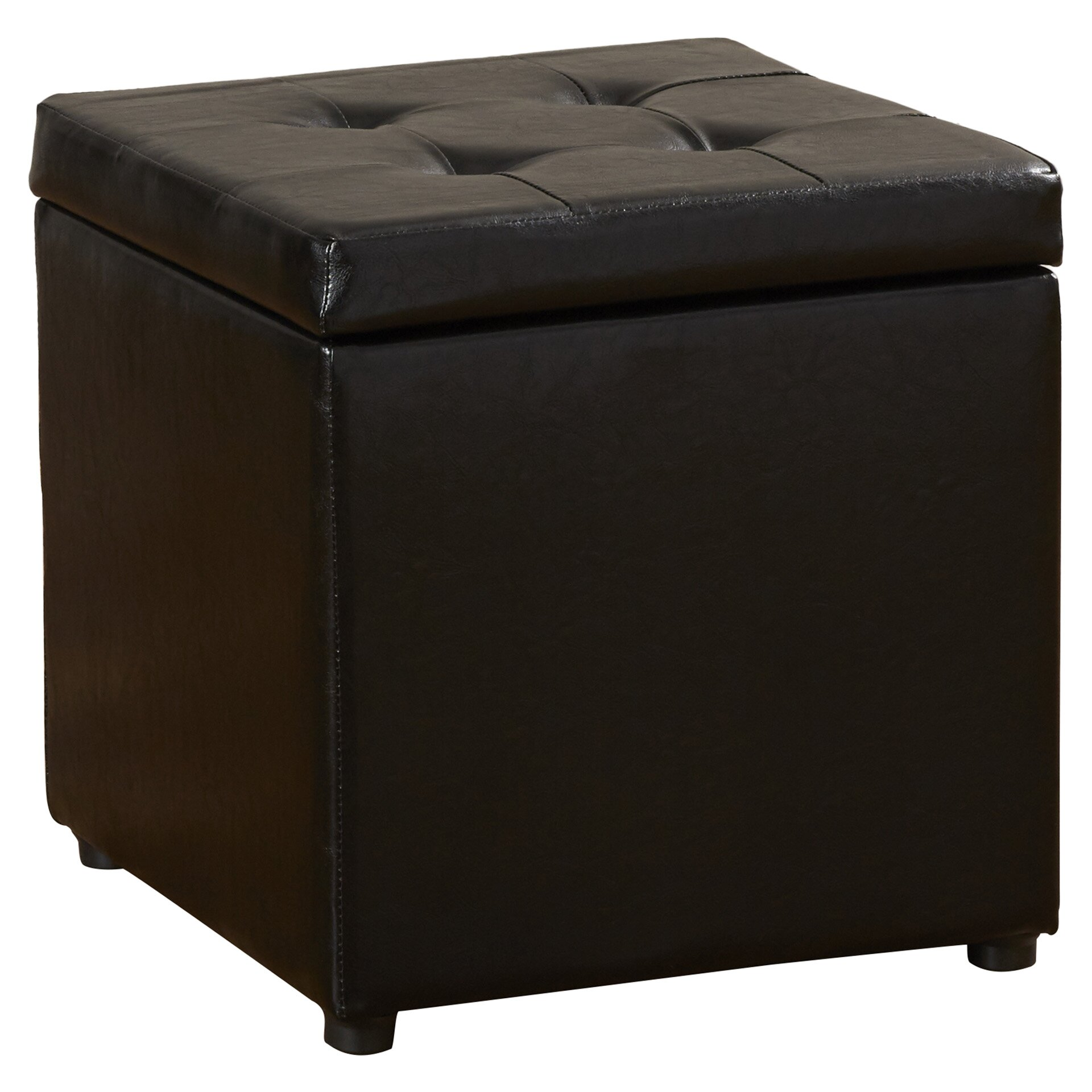 Charlton home donaldson upholstered storage cube ottoman for Storage charlton