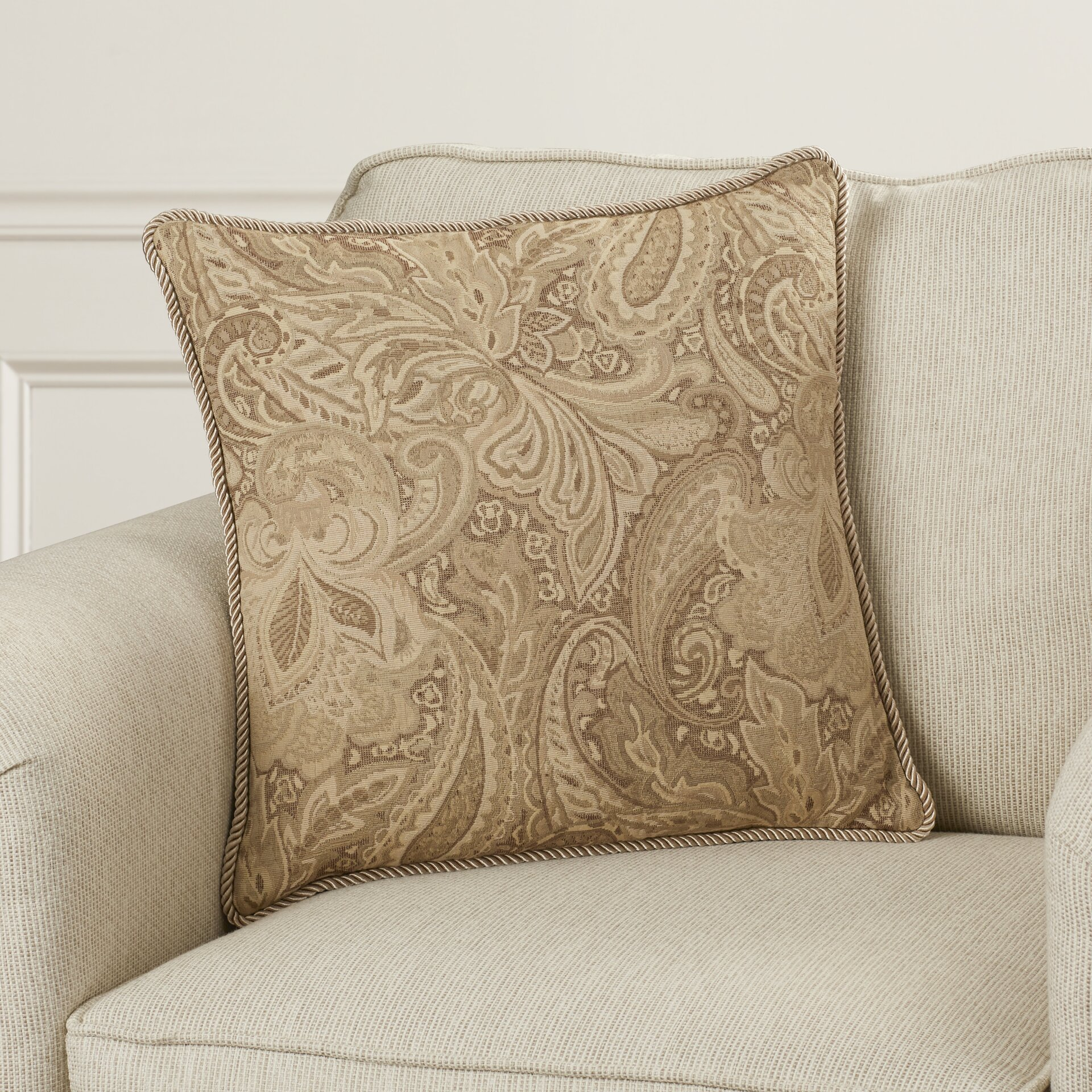 Jacquard Throw Pillows : Charlton Home Drayton Jacquard Paisley Throw Pillow & Reviews Wayfair