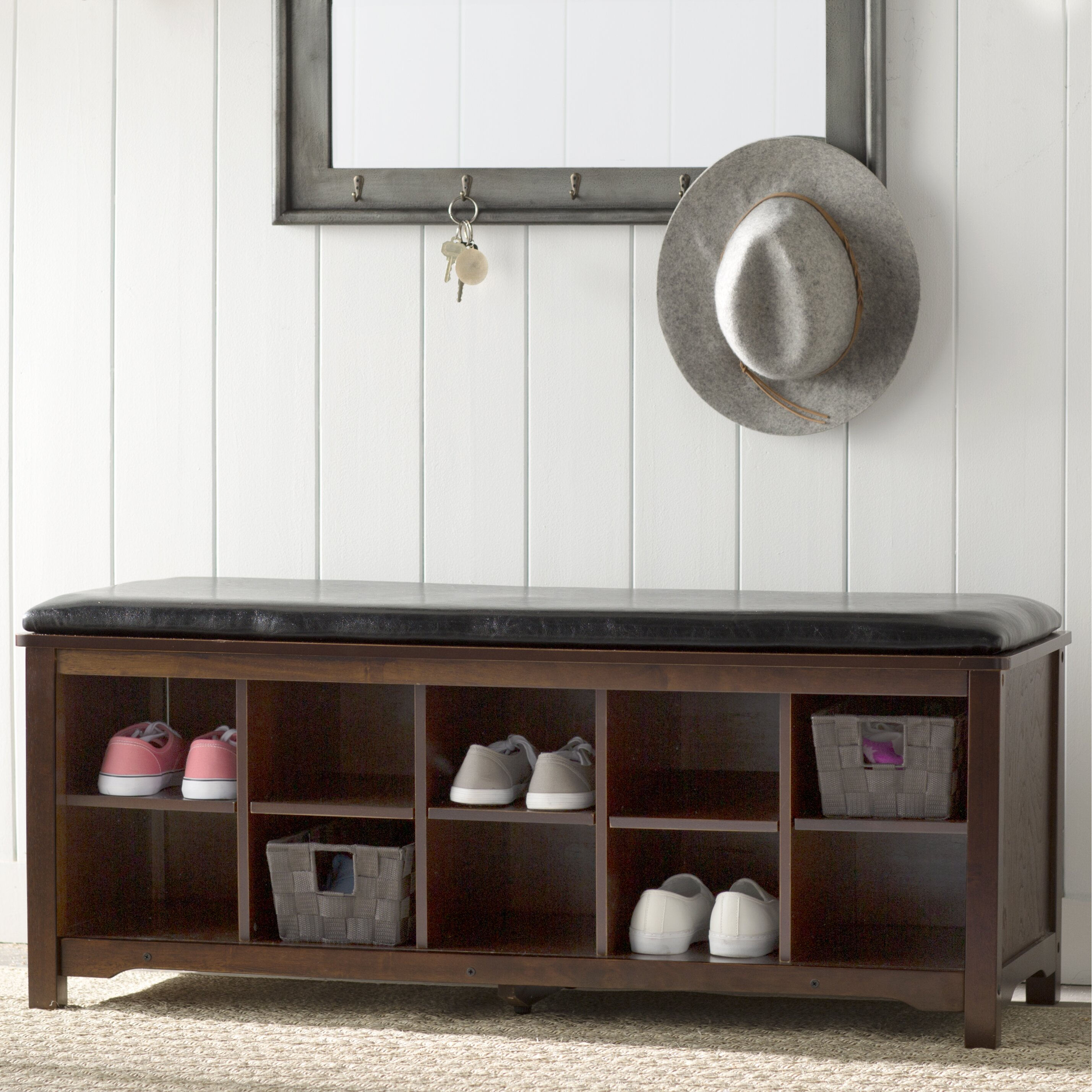 Charlton Home Benton Cape Anne Wood Storage Entryway Bench