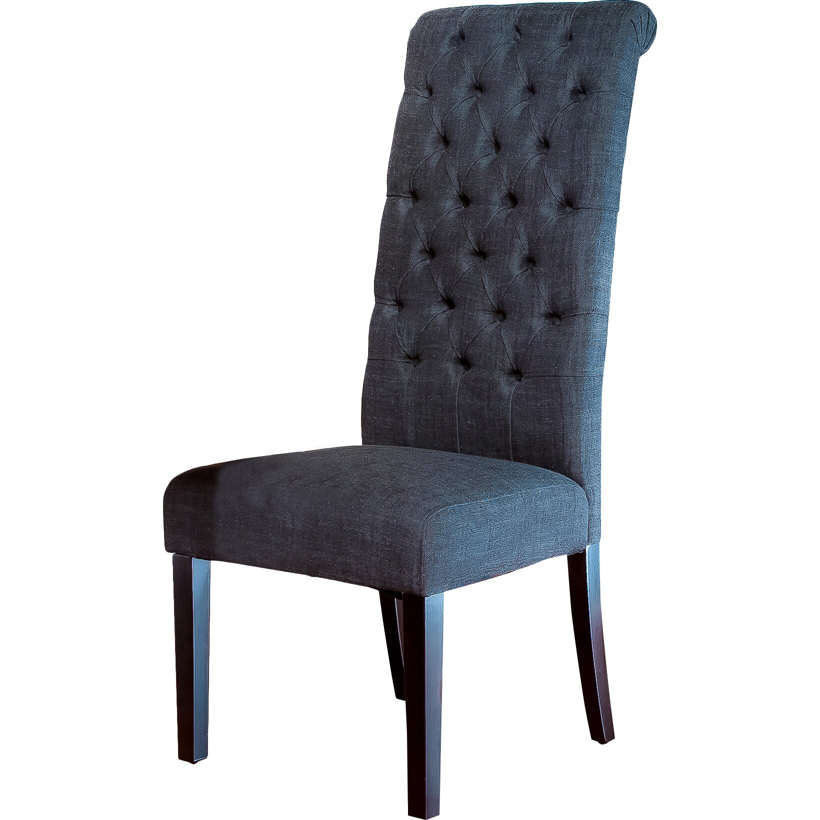 Charlton home estbury tall tufted upholstered dining chair for Upholstered dining chairs