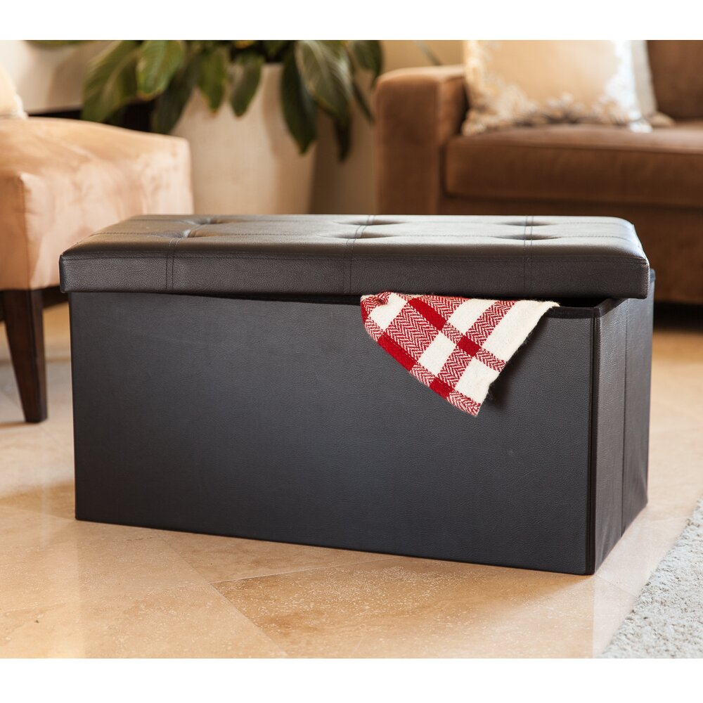 Charlton home carron upholstered storage entryway bench for Storage charlton