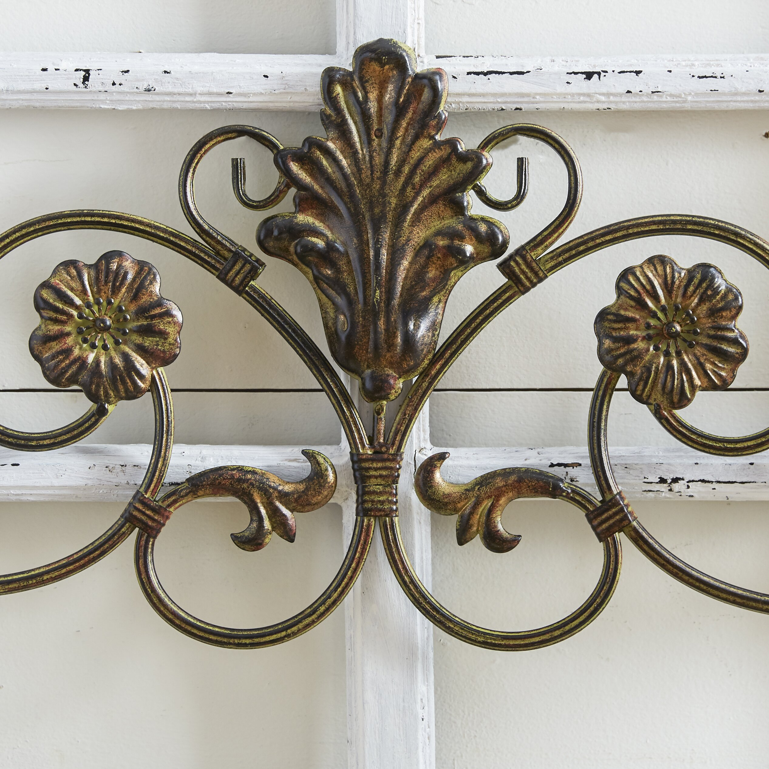 Charlton home wrought iron wall d cor reviews wayfair for Wrought iron decorations home