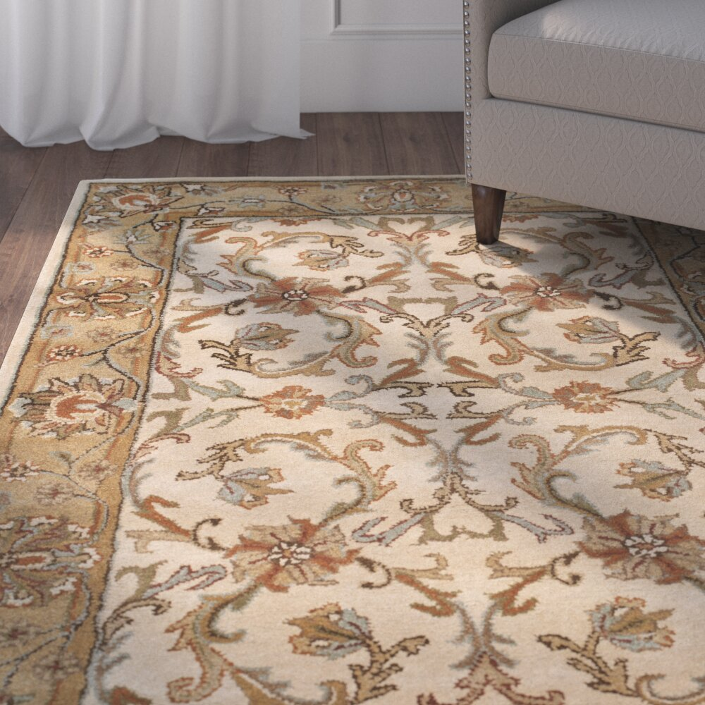 Dog Eating Wool Rug: Charlton Home Cranmore Beige/Gold Area Rug & Reviews