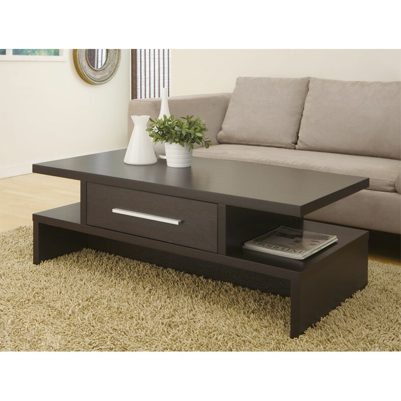 Varick gallery rectangular one drawer coffee table for Sofa side table designs