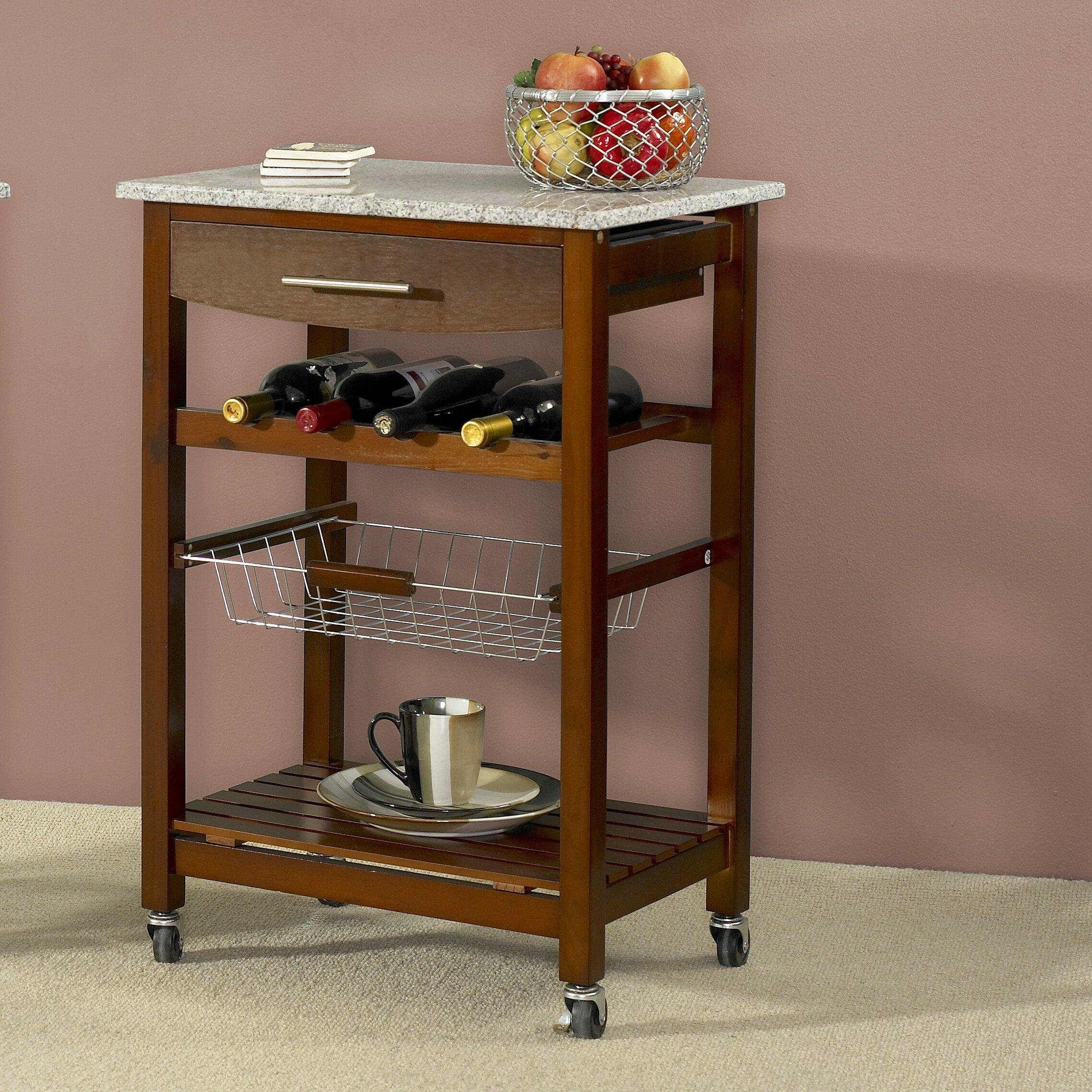 Varick Gallery Flint Kitchen Cart With Granite Top