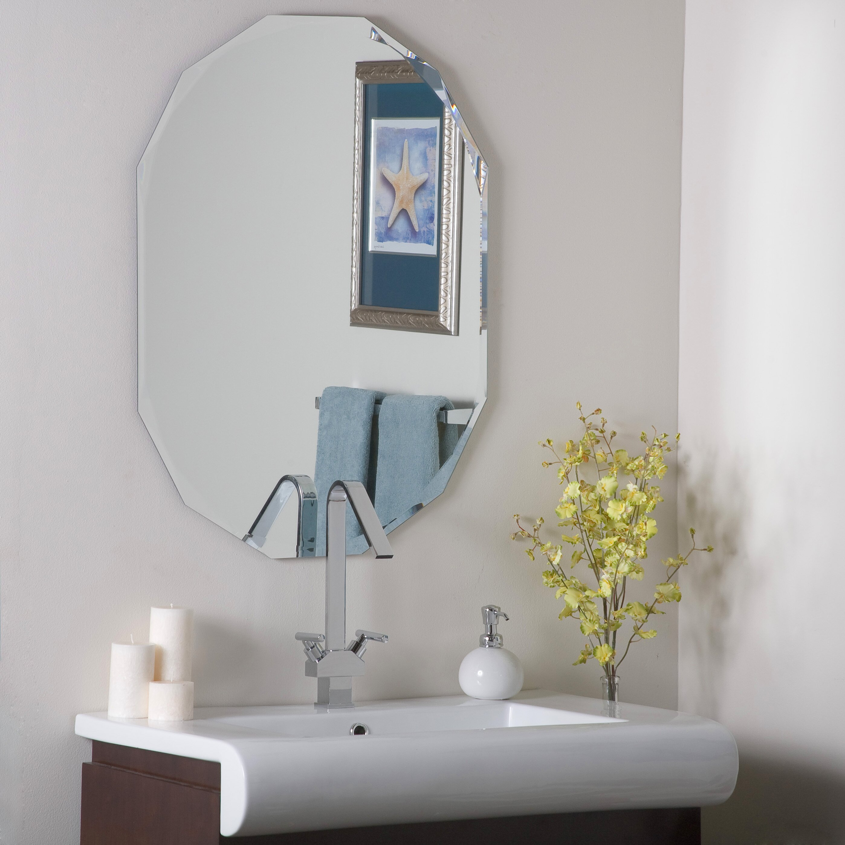 House of hampton frameless diamond wall mirror reviews for Frameless wall mirror