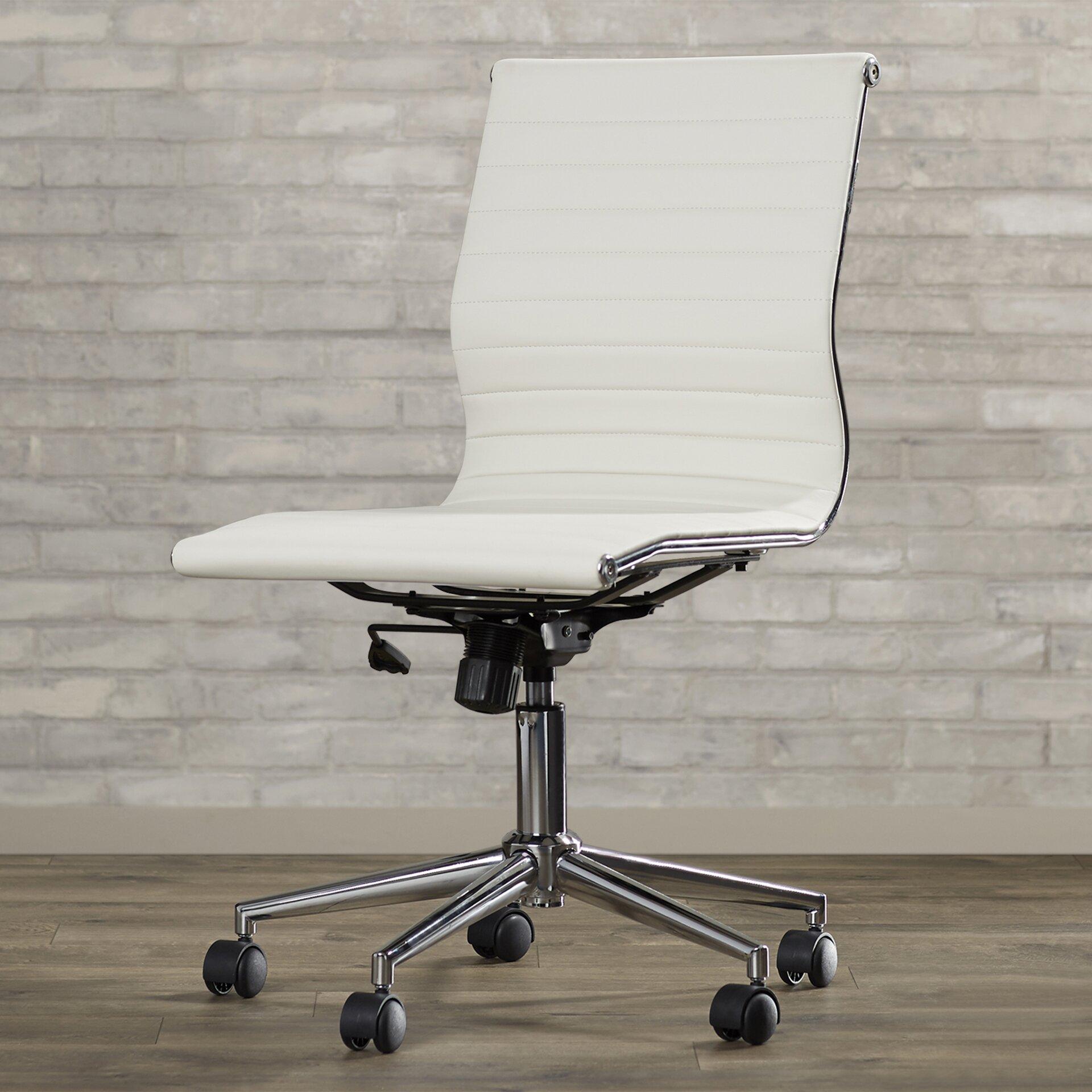 Varick Gallery Willowridge Mid Back Adjustable Leather Office Chair Rev