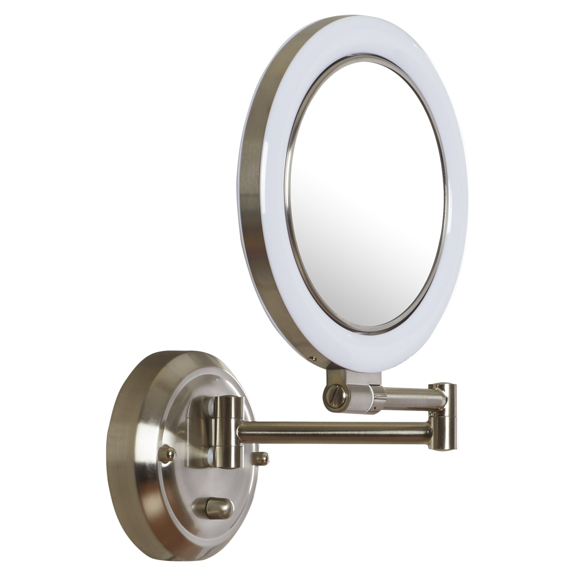 Varick gallery howell dimmable wall mirror in satin nickel for Mirror gallery wall