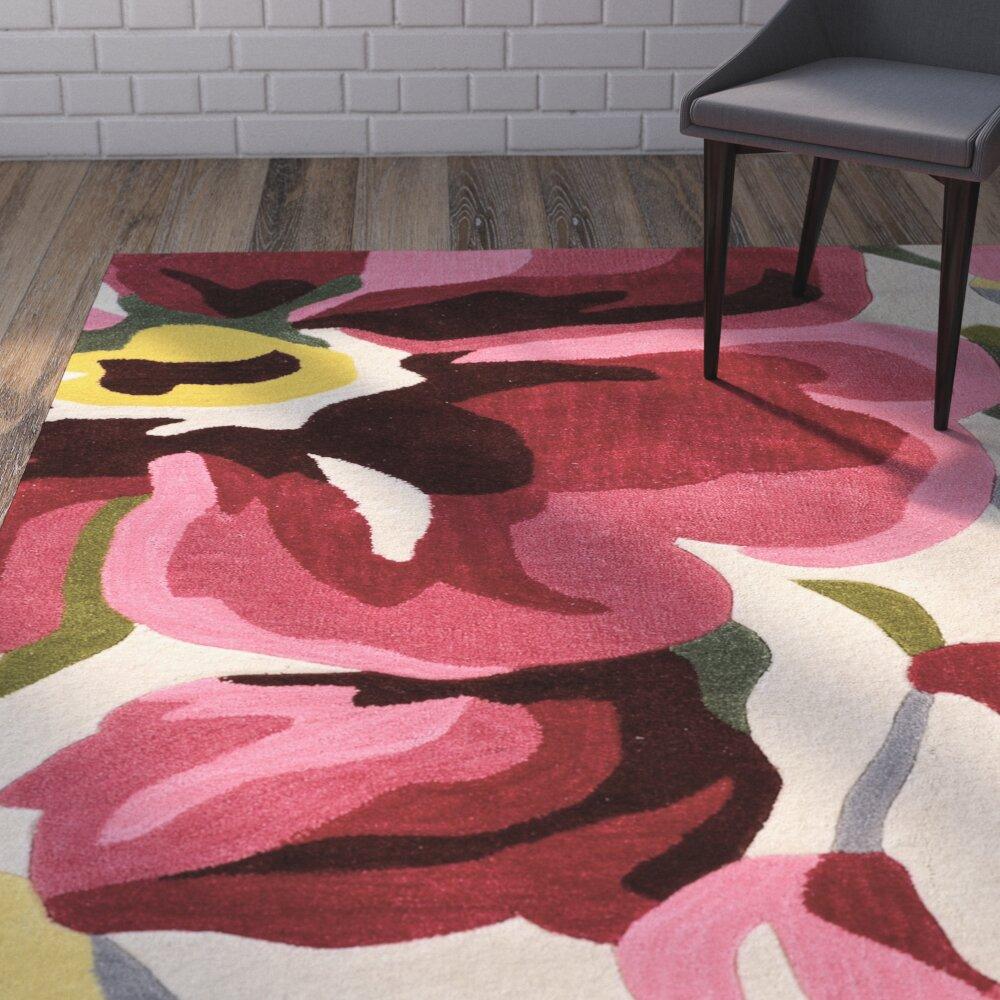 varick gallery west wick hand tufted pink beige black area rug reviews wayfair. Black Bedroom Furniture Sets. Home Design Ideas
