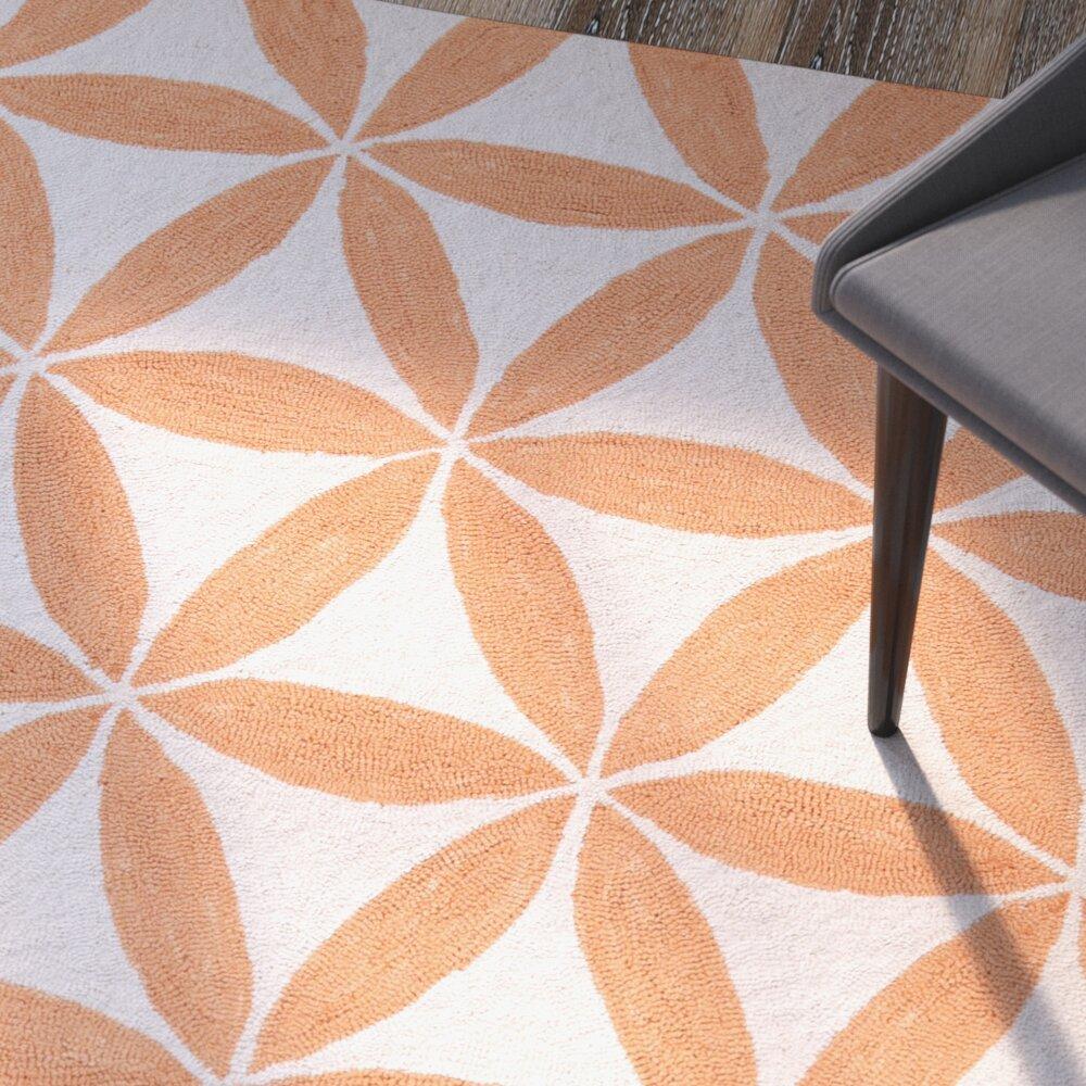 Jordan Furniture Mattress Sale Varick Gallery Jordan Hooked Beige/Orange Indoor/Outdoor ...