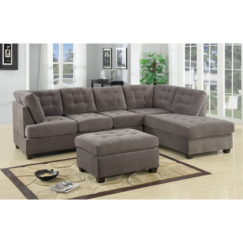 suede sectional sofa with square stitching pattern reviews wayfair