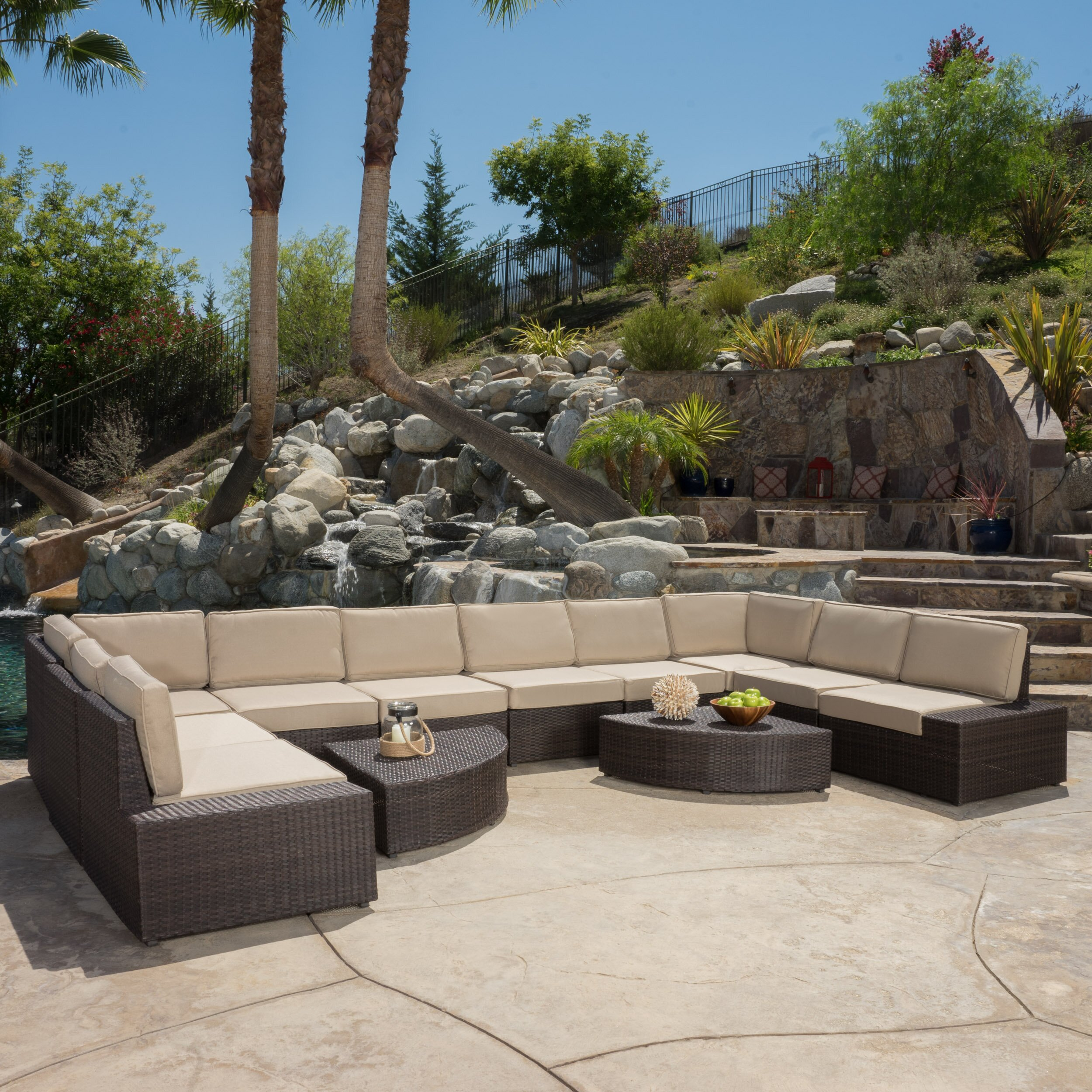Brayden Studio Mariscal 12 Piece Deep Seating Group With Cushions Reviews Wayfair Supply