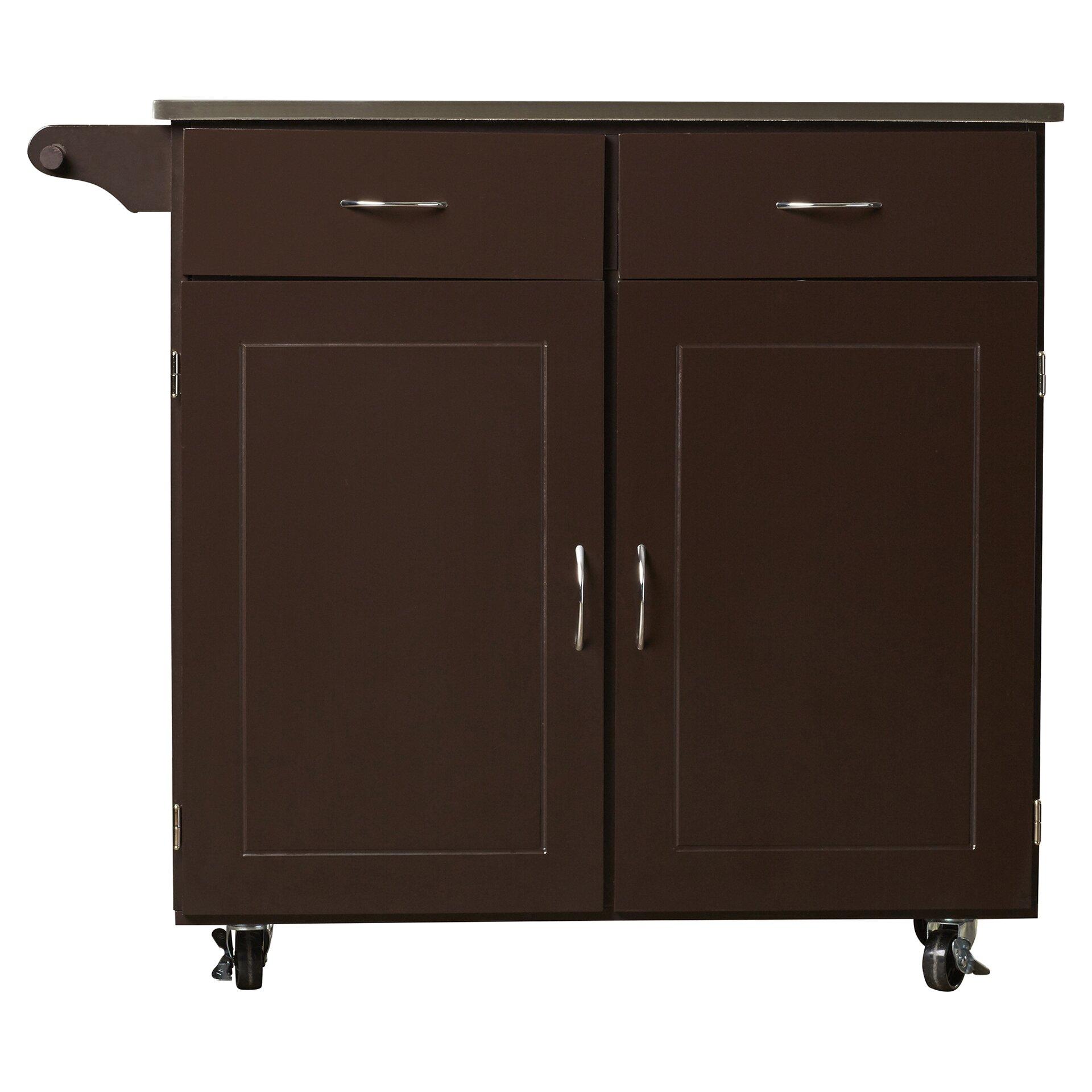 brayden studio dayville large kitchen cart with stainless