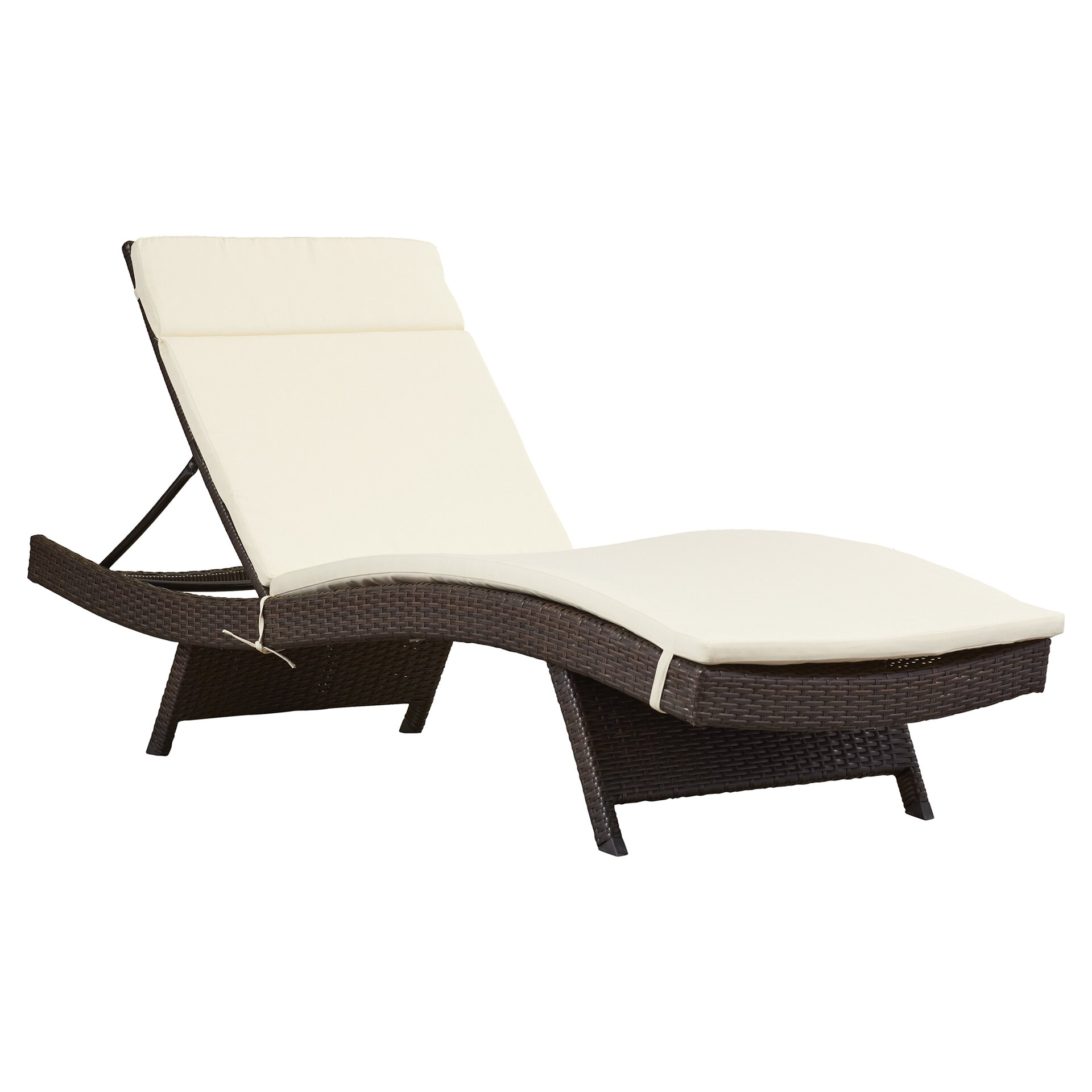 Brayden studio garry wicker adjustable chaise lounge with for Chaise cushions on sale