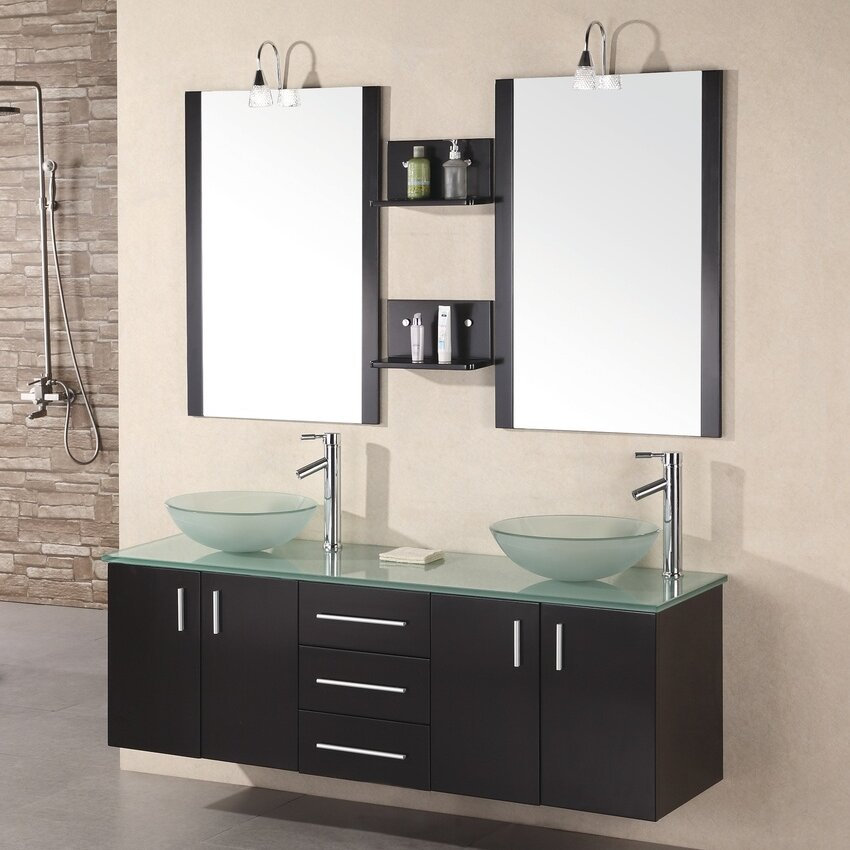 Brayden Studio Newcastle 61 Floating Double Bathroom Vanity Set With Mirrors Reviews Wayfair