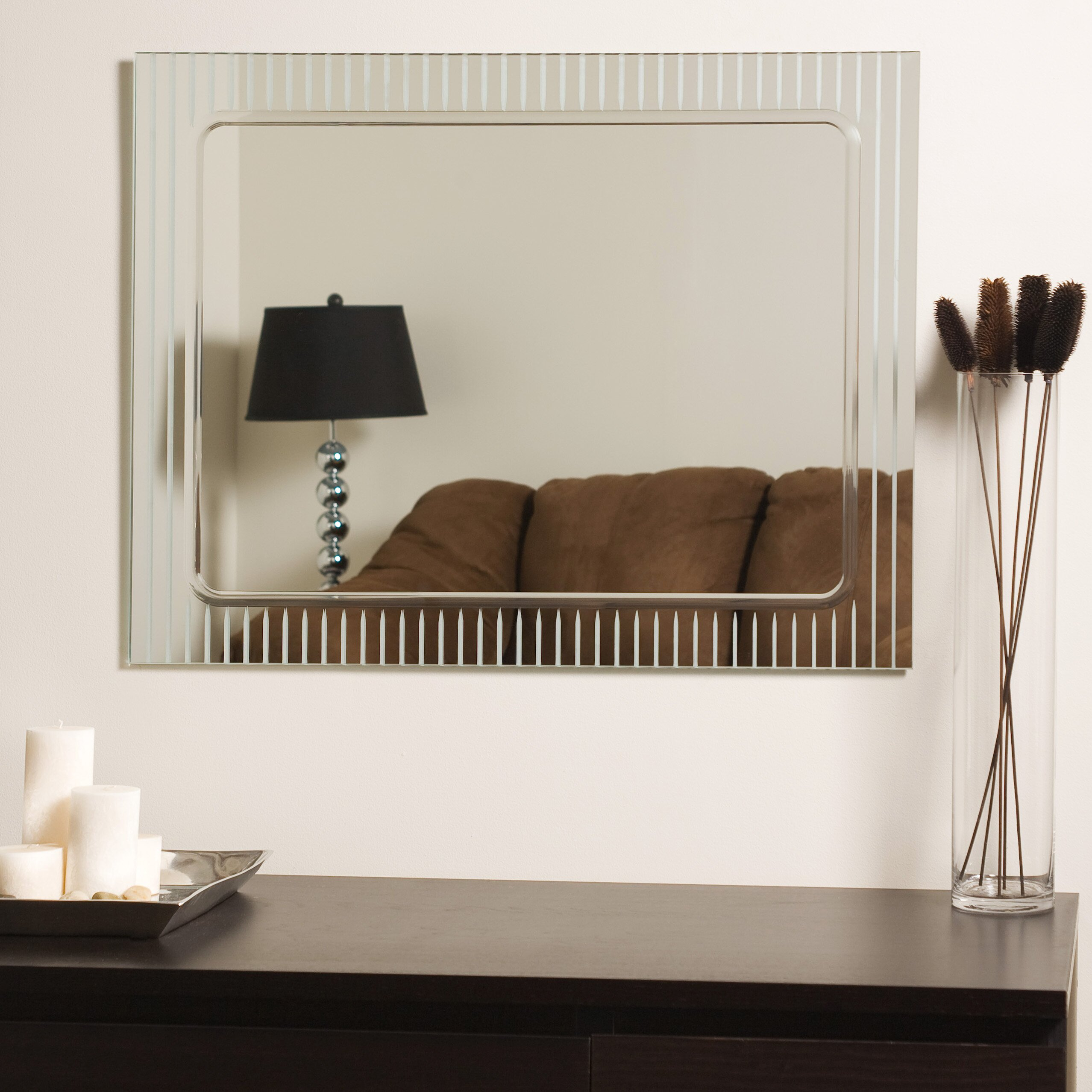 brayden studio frameless v groove wall mirror reviews