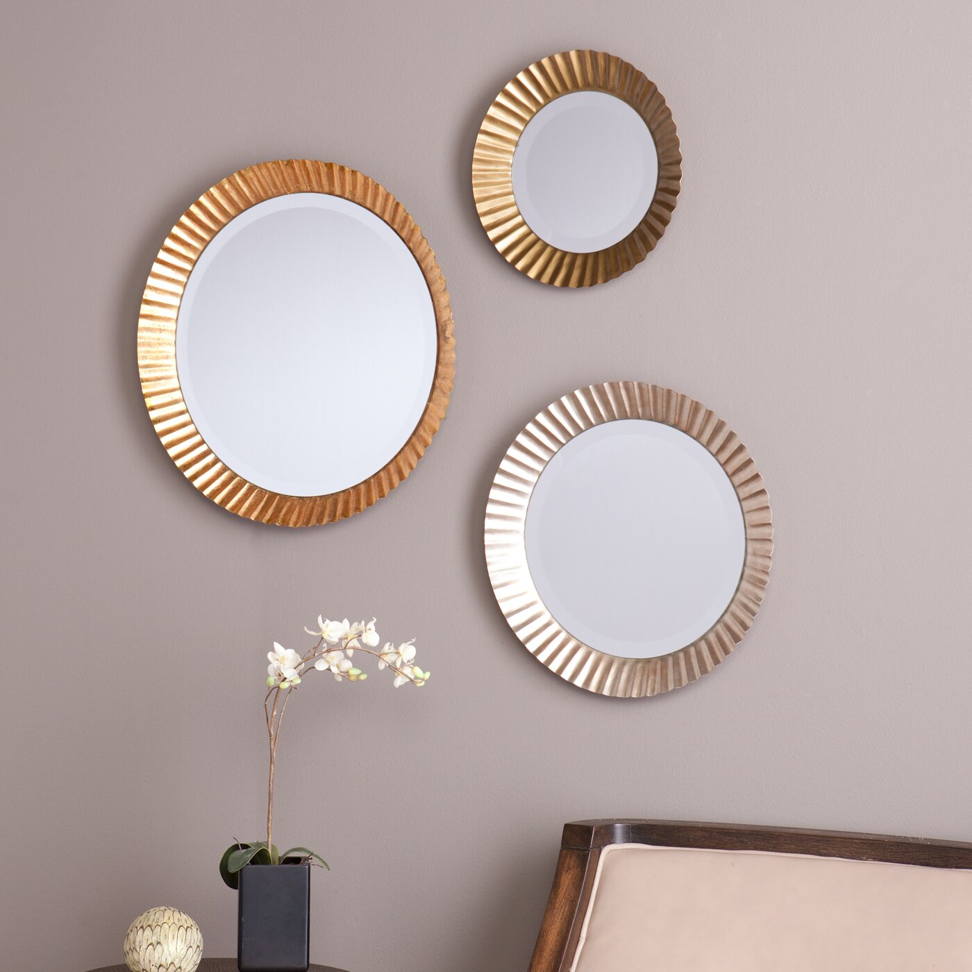 brayden studio 3 piece wall mirror set reviews wayfair. Black Bedroom Furniture Sets. Home Design Ideas
