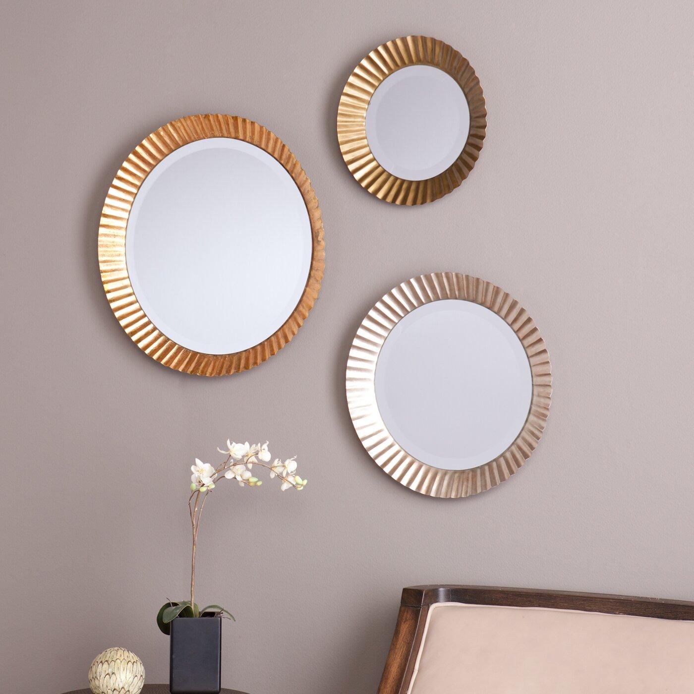 Brayden studio 3 piece wall mirror set reviews wayfair for Mirror of mirror