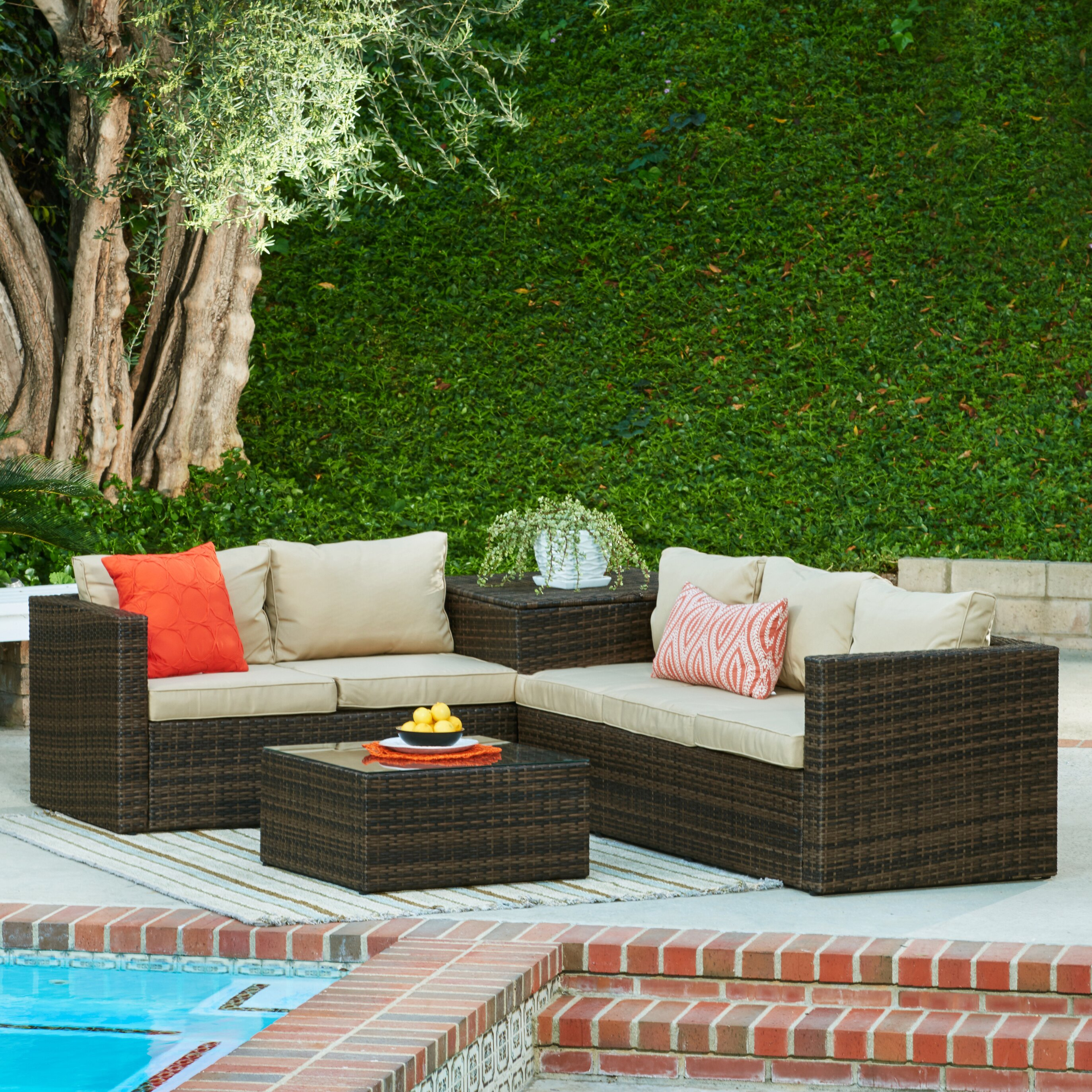 Brayden Studio Armbruster 4 Piece Sectional Seating Group With Cushions Reviews Wayfair
