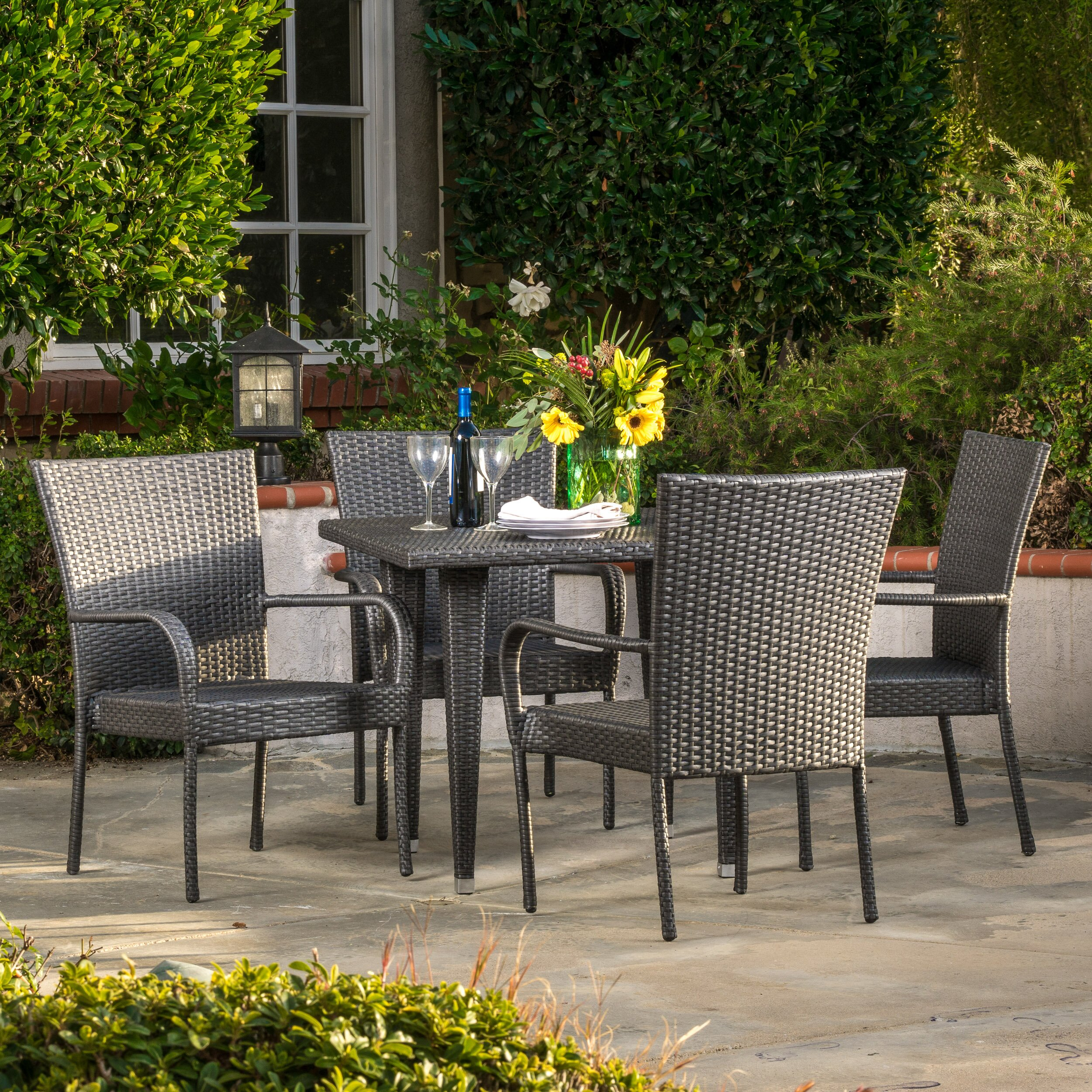 Brayden Studio Gunning Outdoor 5 Piece Dining Set Reviews Wayfair