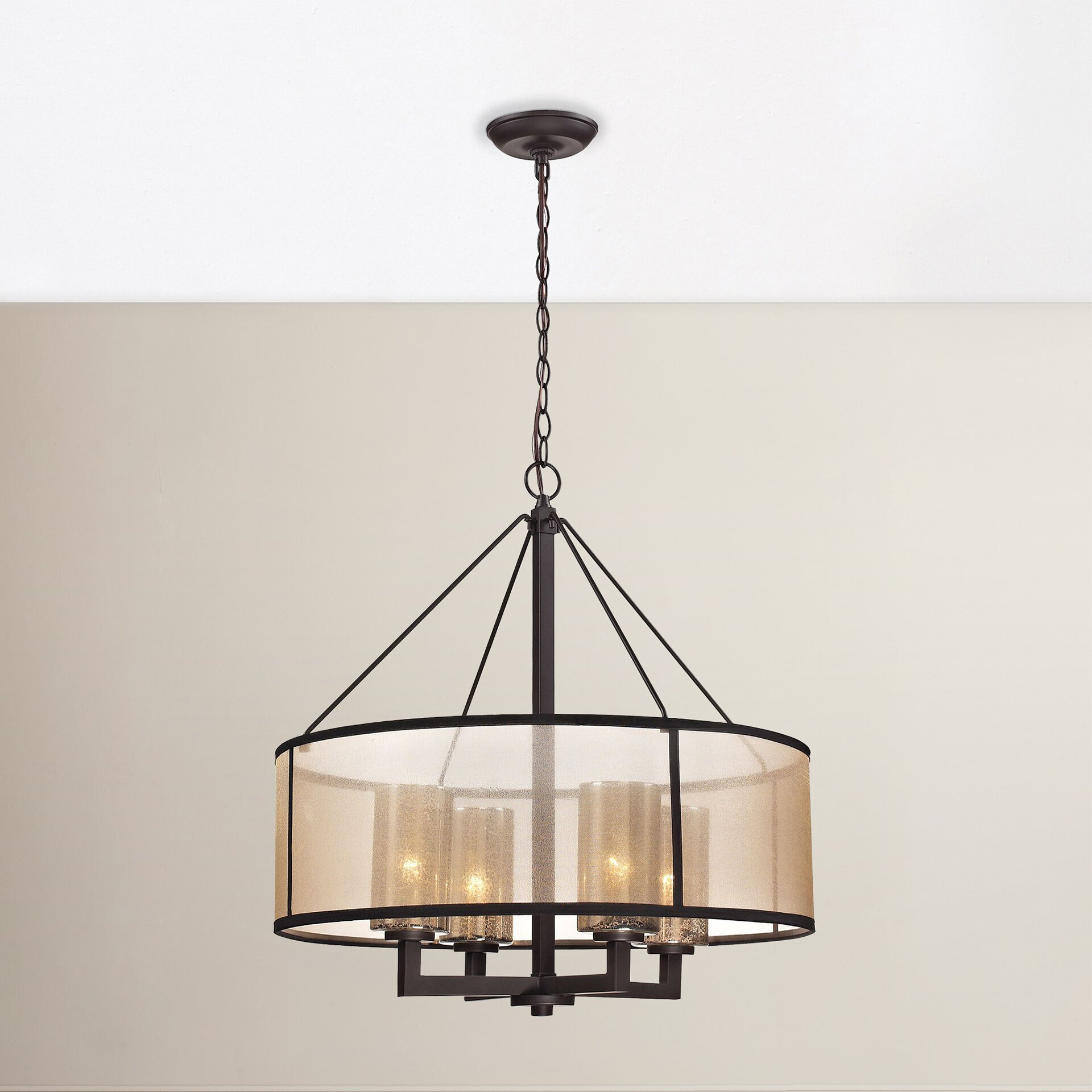 Brayden studio dailey 4 light drum chandelier reviews wayfair - Lights and chandeliers ...