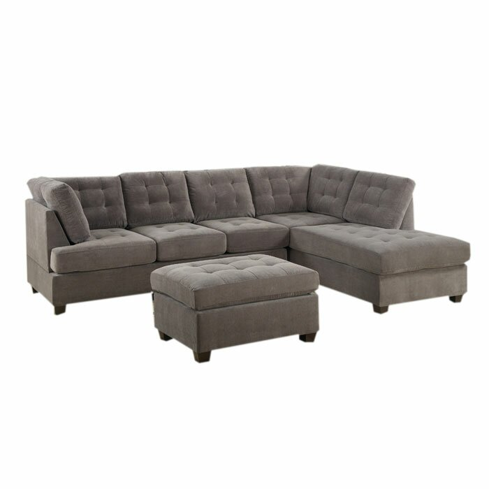 Brayden studio aedesia piece waffle suede sectional sofa for Suede sectional