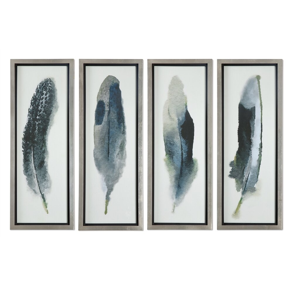 Brayden Studio Feathered Beauty Prints 4 Piece Framed