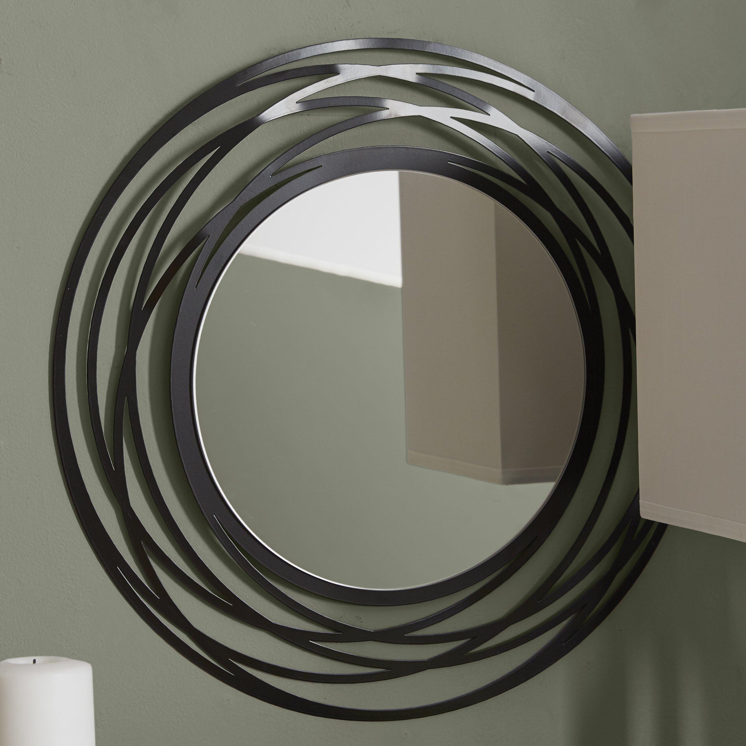Brayden studio fluent round wall mirror reviews wayfair for Mirror in a can