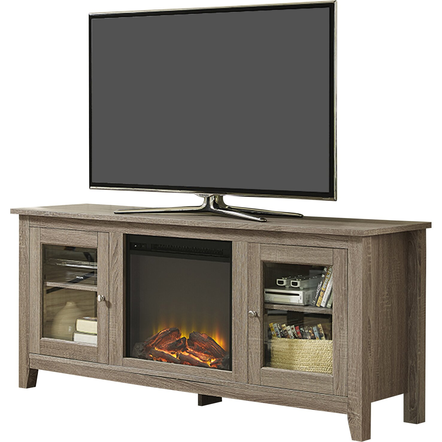 Brayden Studio Andy Tv Stand With Electric Fireplace Reviews Wayfair