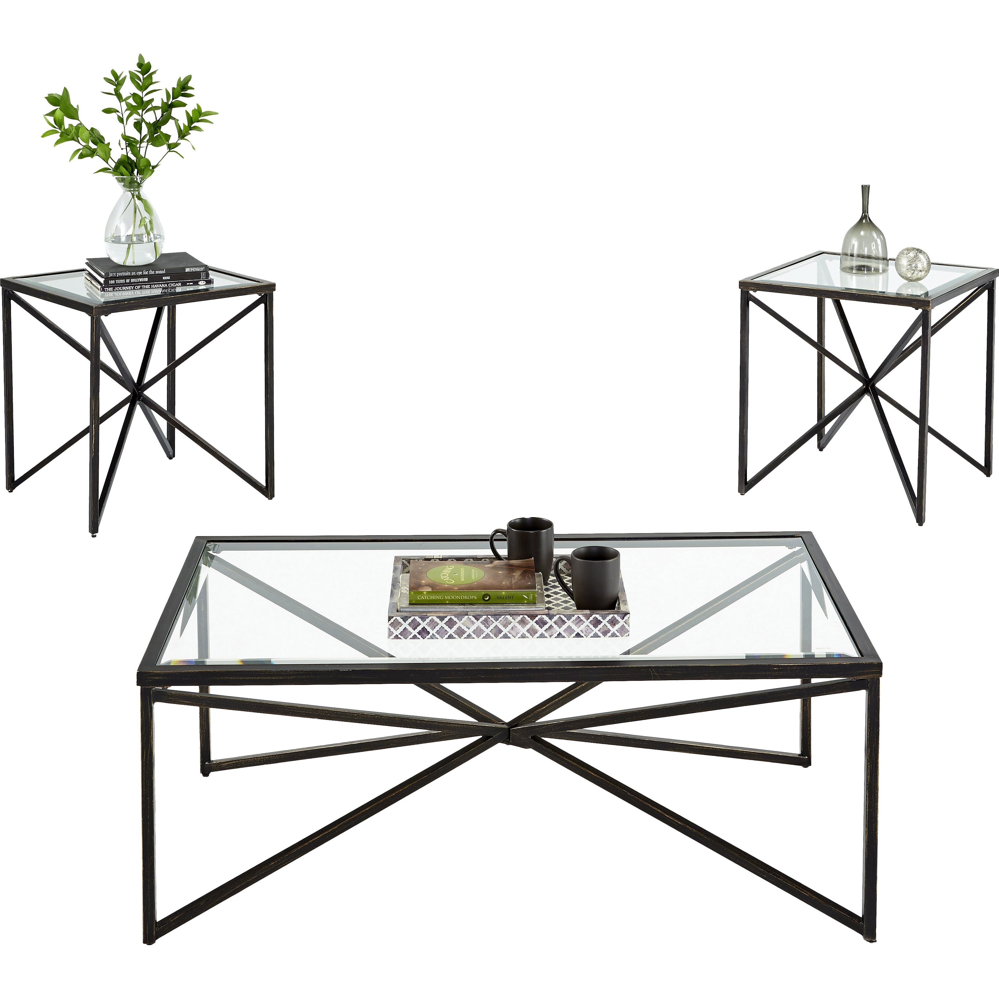 Brayden studio greene 3 piece coffee table set reviews One piece glass coffee table