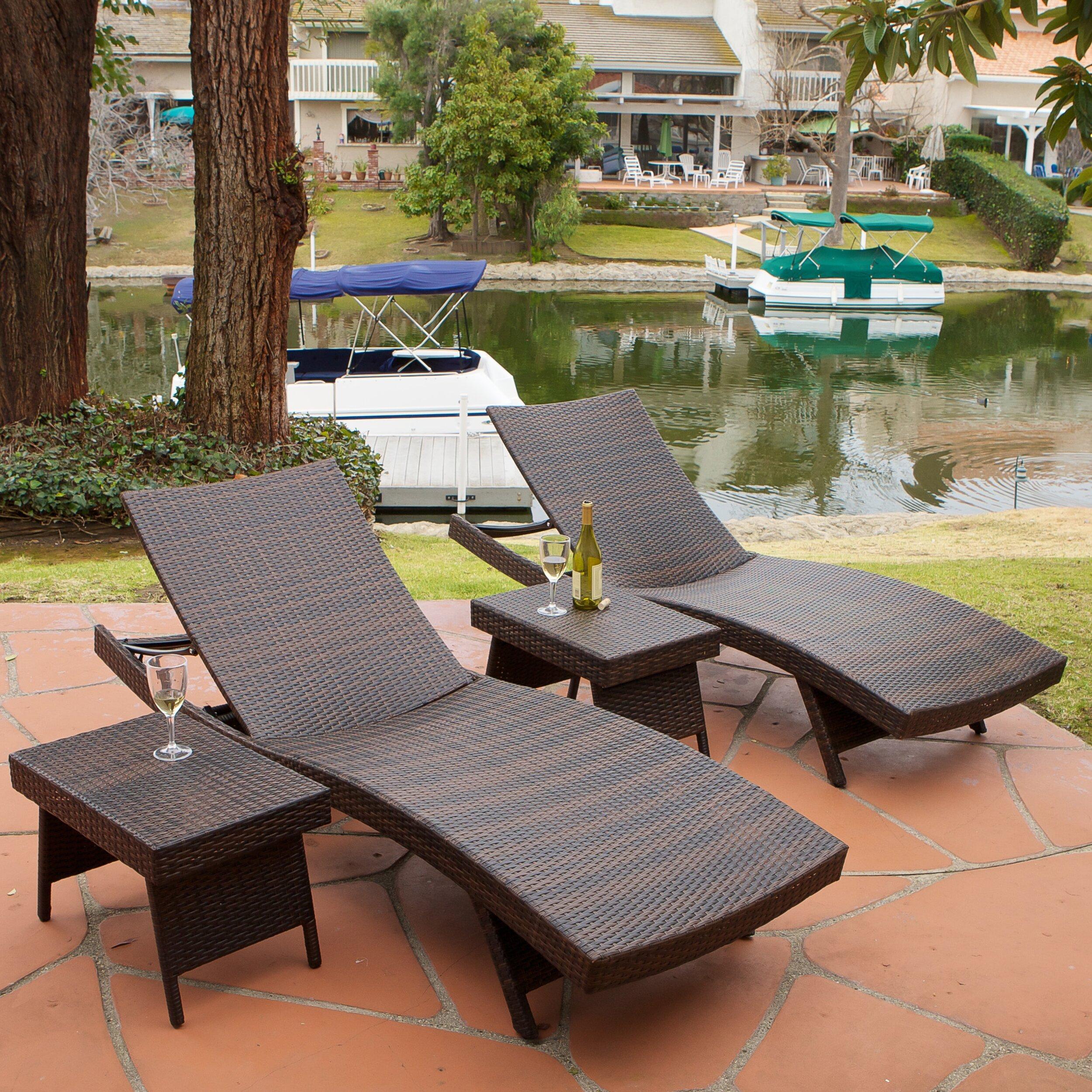 Brayden studio gadbois adjustable chaise lounge reviews for Muebles para piscina