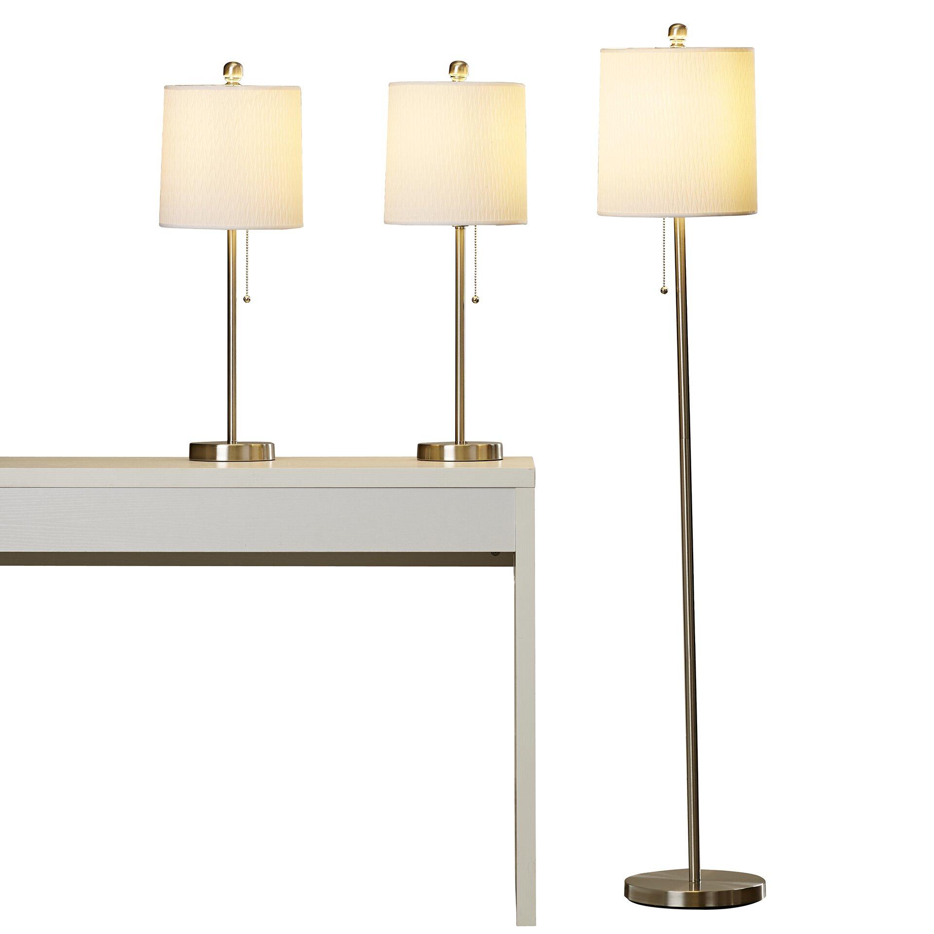 Wade logan aspen hill 3 piece table and floor lamp set for Aspen tree floor lamp