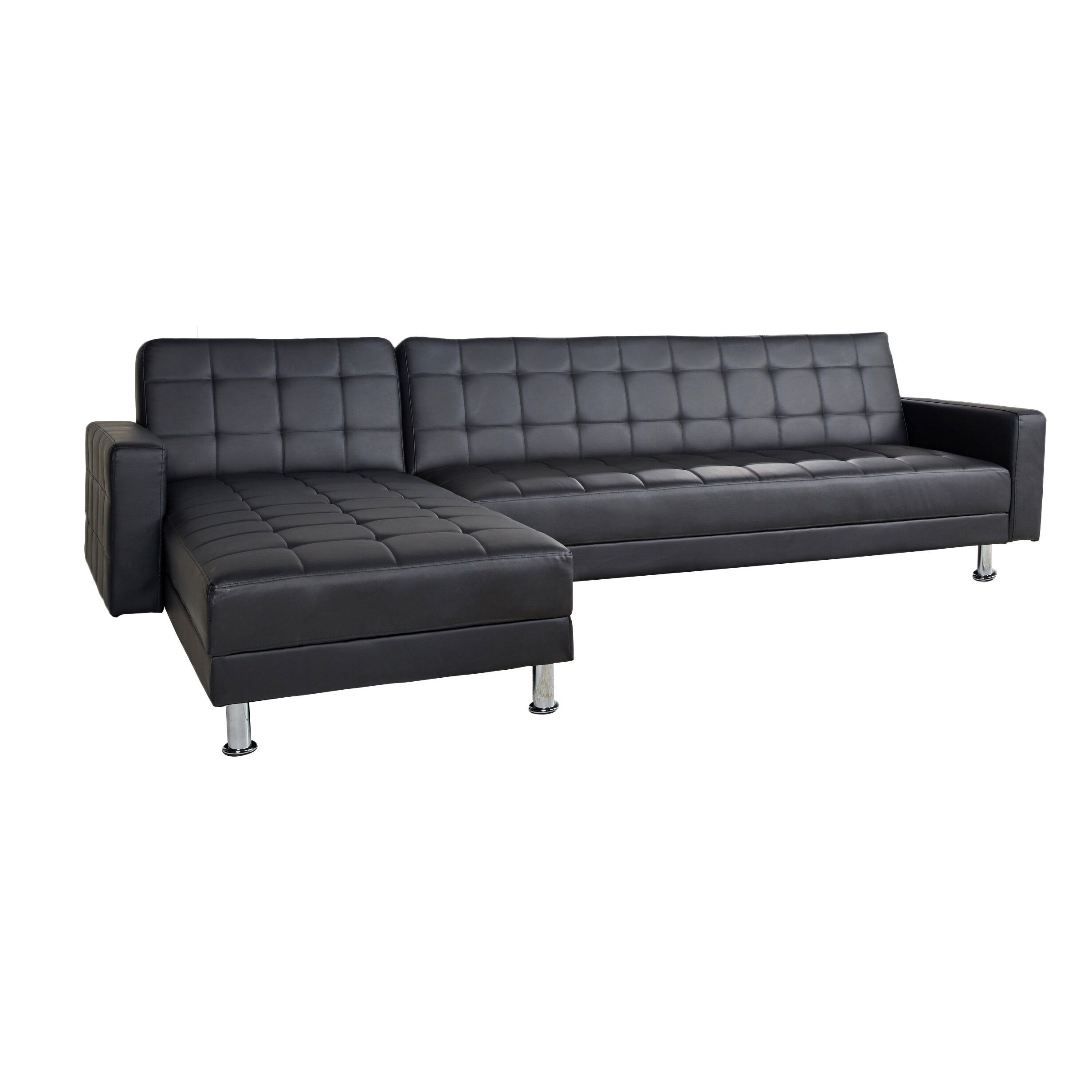 Wade logan spirit lake sleeper sectional reviews wayfair for Chaise lounge convertible bed