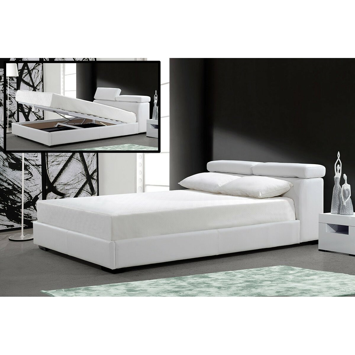Wade Logan Welsey King Upholstered Storage Platform Bed
