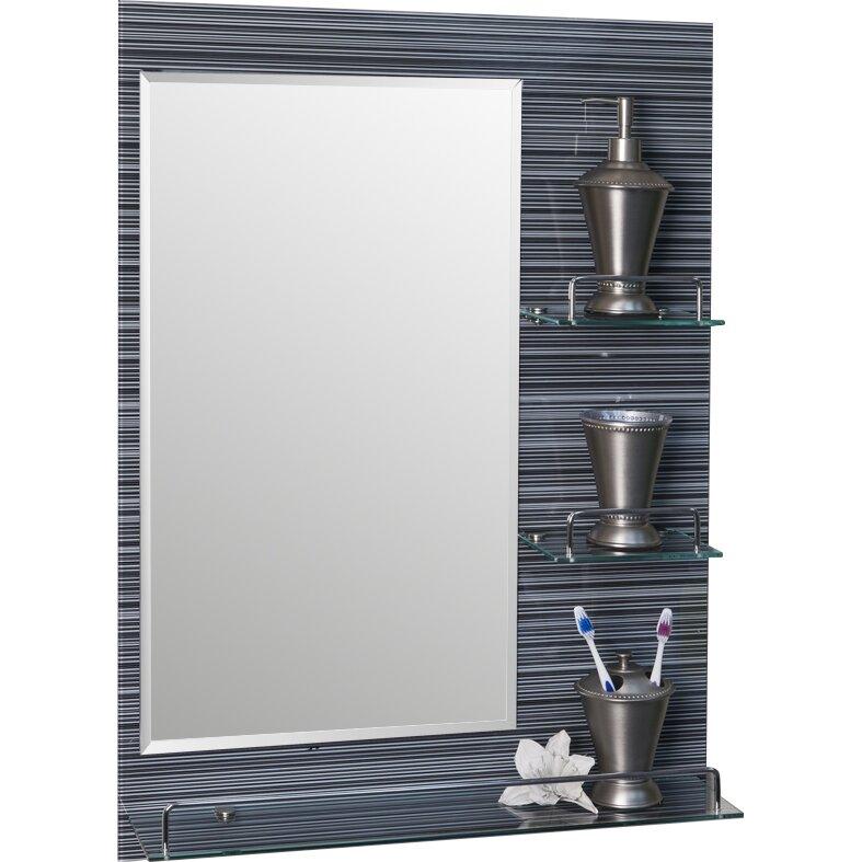 wade logan vanity bathroom mirror with shelves reviews. Black Bedroom Furniture Sets. Home Design Ideas