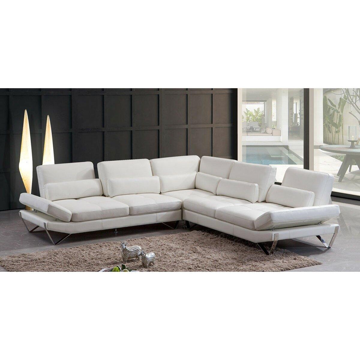Wade logan northbridge leather sectional wayfair for White sectional sofa wayfair