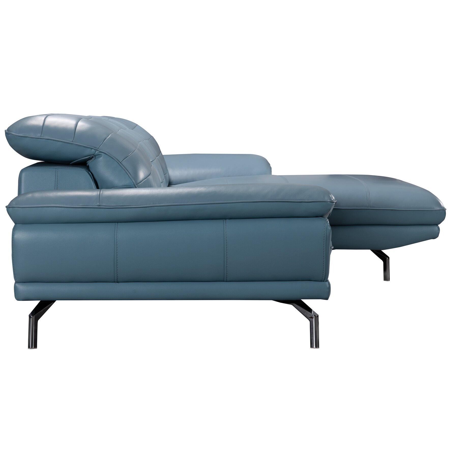 Wade Logan Alsatia Leather Sectional Sofa Wayfair