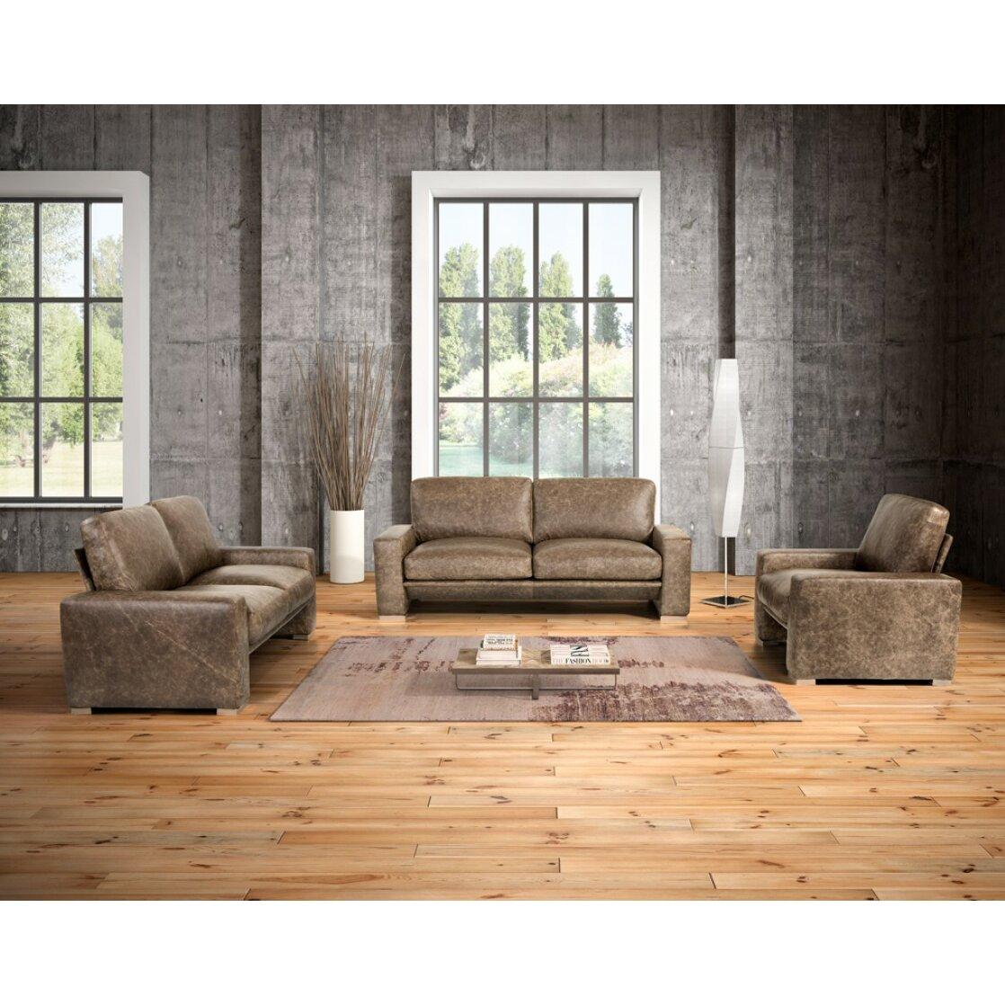 Wade Logan Northbridge 3 Piece Leather Sofa Set Wayfair