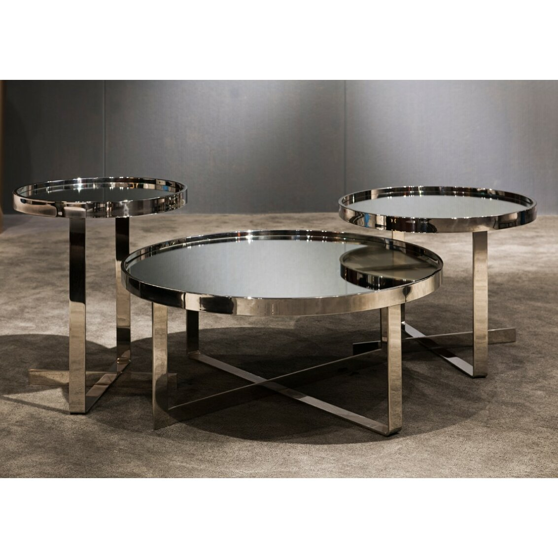 Wade Logan Patterson Contemporary Mirrored 3 Piece Coffee Table Set