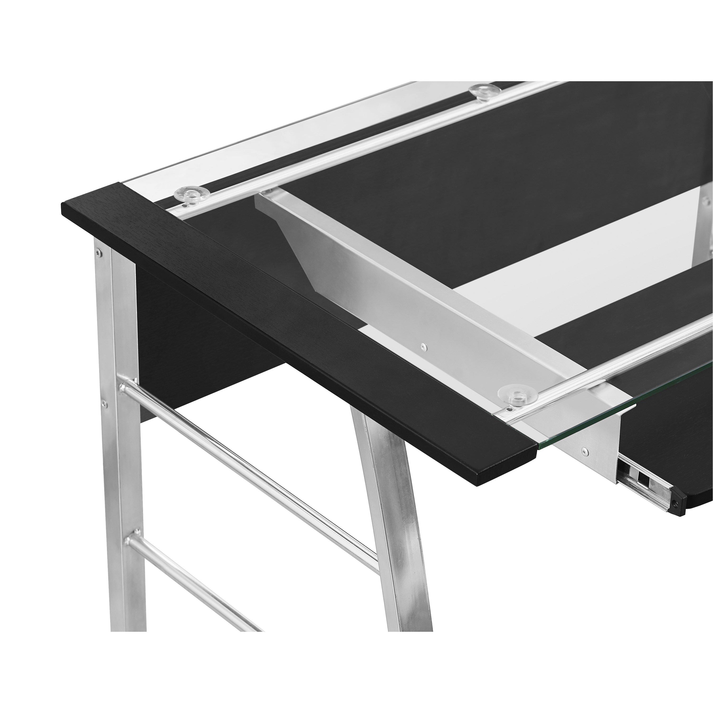 wade logan jermaine glass l shape computer desk reviews wayfair. Black Bedroom Furniture Sets. Home Design Ideas