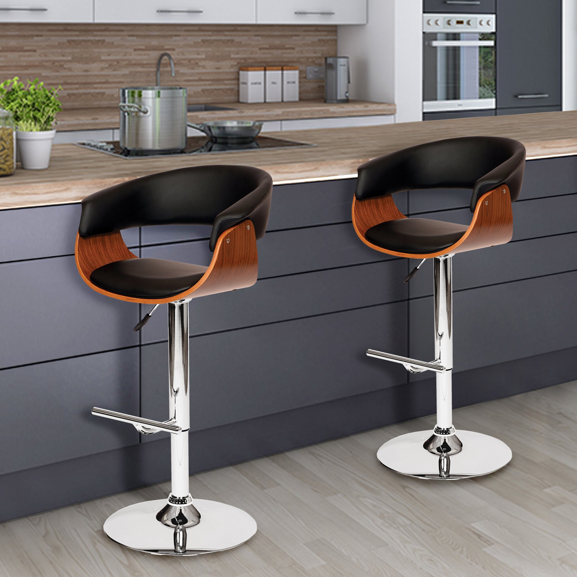 Corrigan Studio March Adjustable Height Swivel Bar Stool
