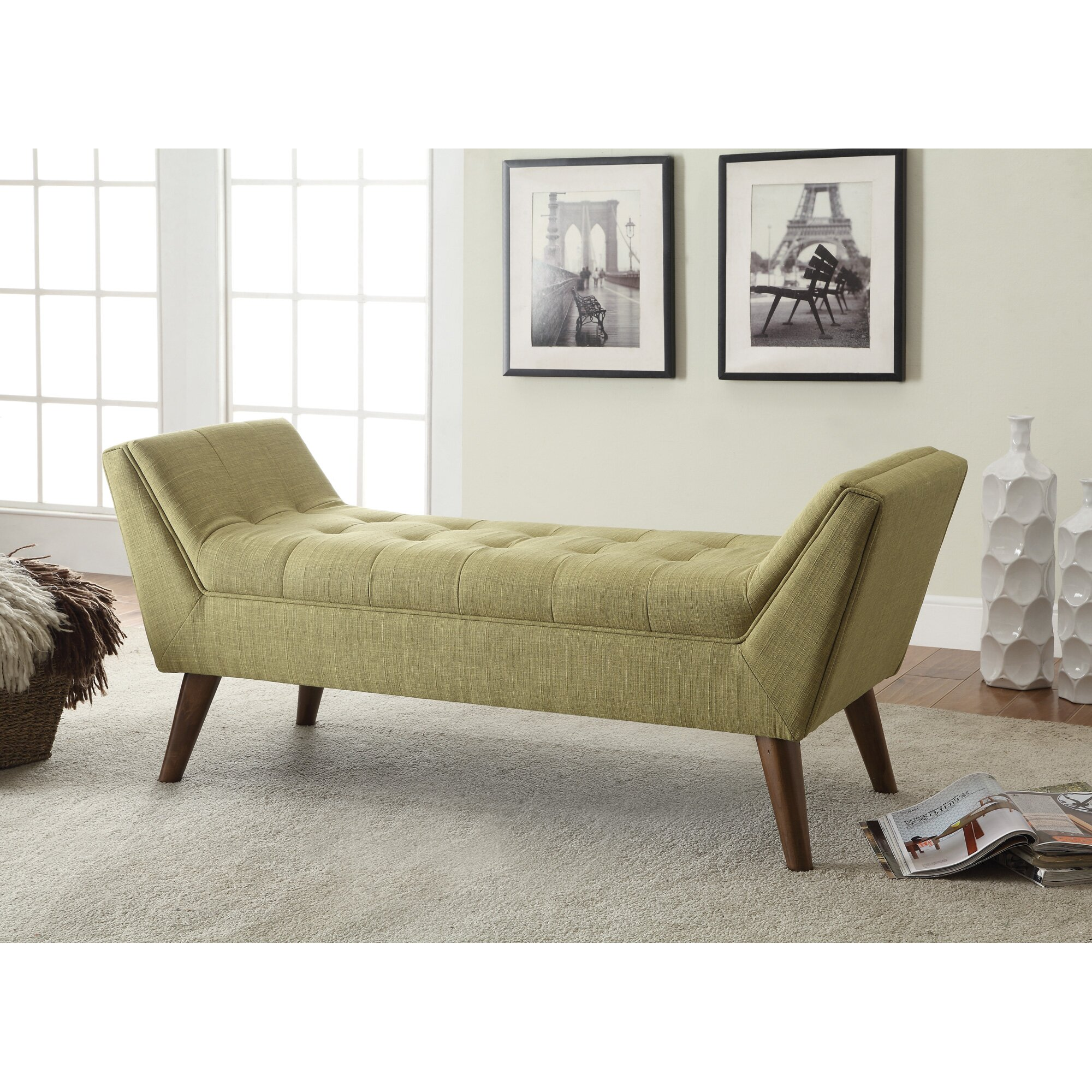 Langley street serena upholstered bedroom bench reviews for Bedroom upholstered bench