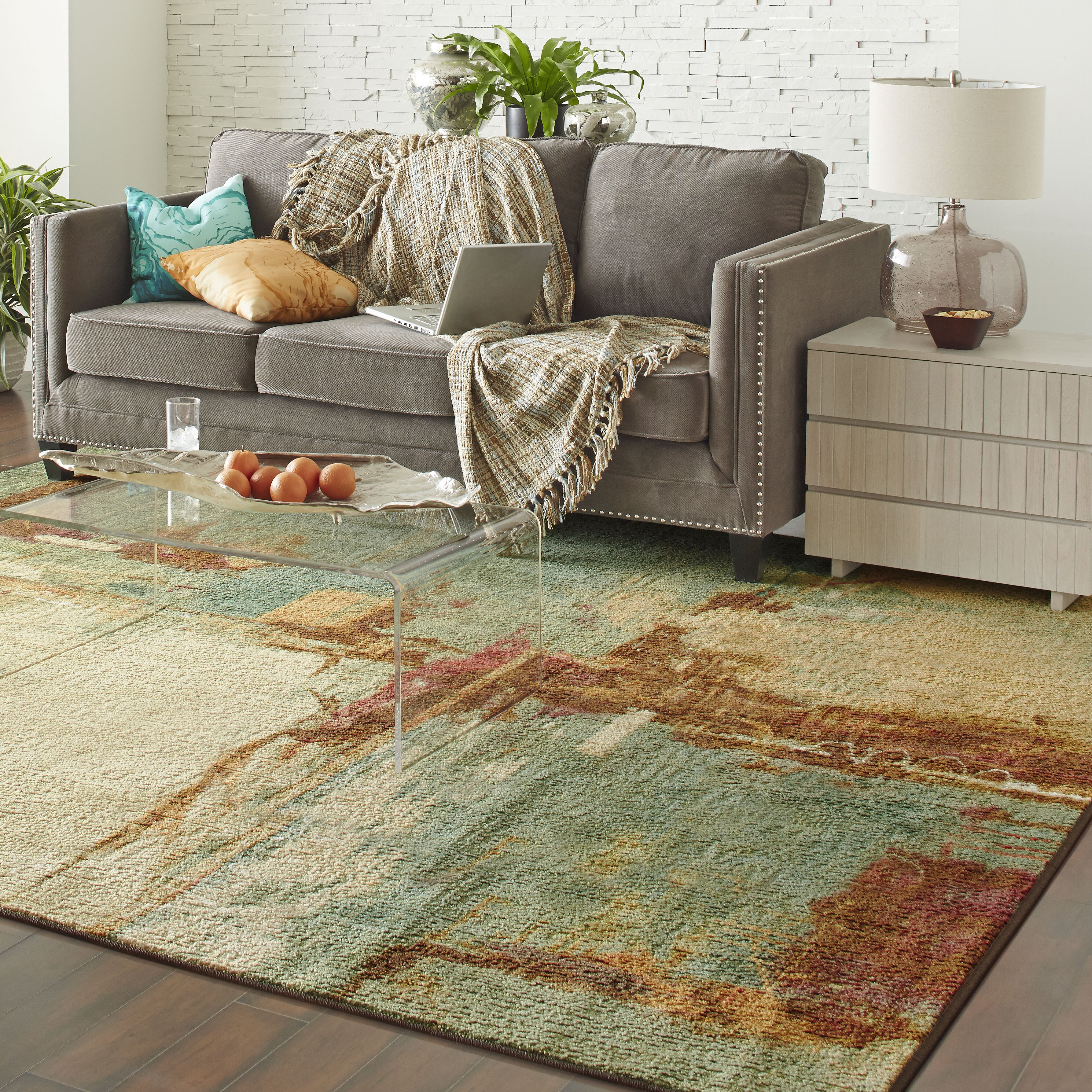 Langley street florencia aqua area rug reviews wayfair for 10x10 living room rugs