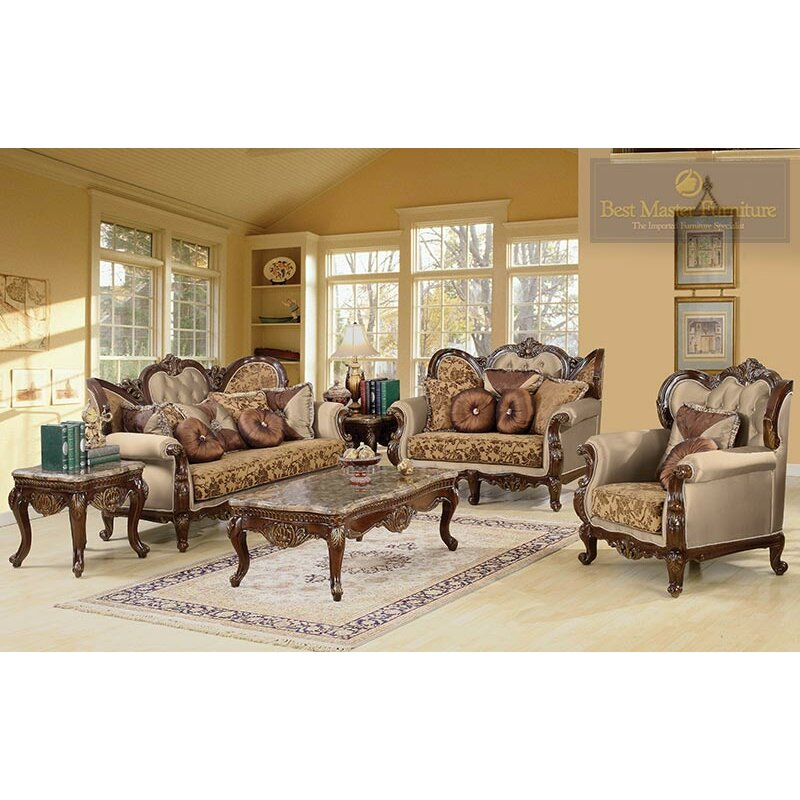 Bestmasterfurniture jenna 3 piece traditional living room for Traditional living room sets