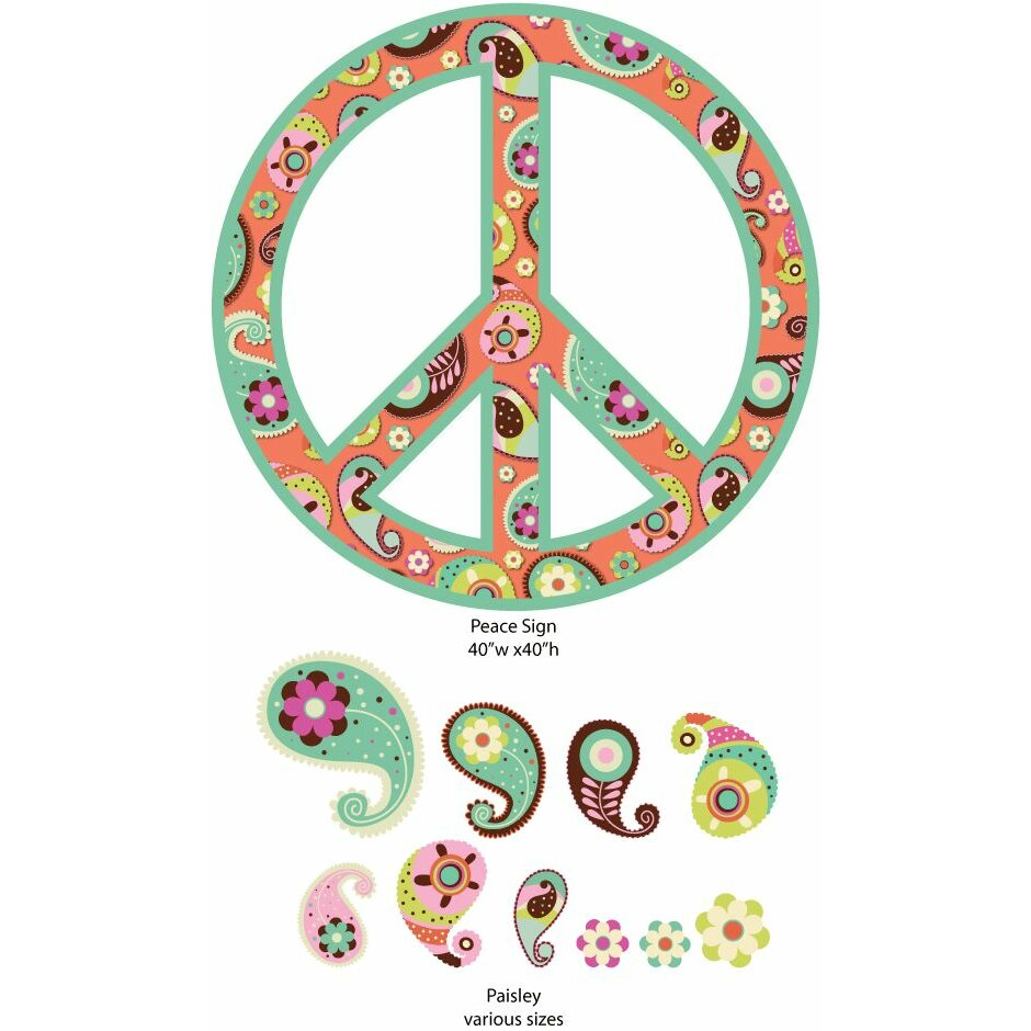 my wonderful walls paisley peace sign wall sticker kit paisley peace sign wall sticker kit peace sign decals