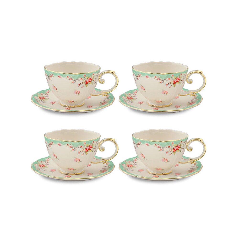 Coastline Imports Vintage Green Rose Porcelain 7 Oz Tea