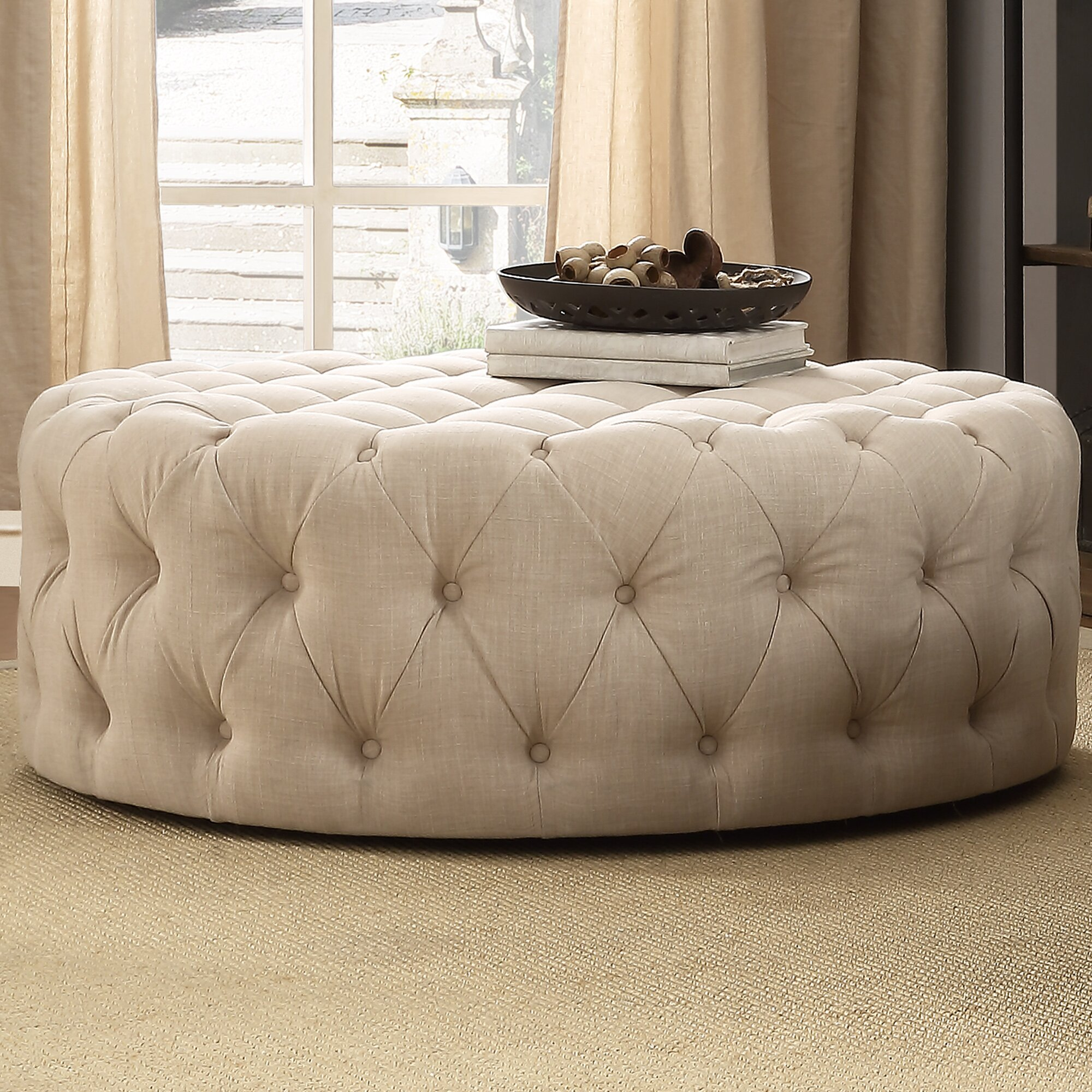 Lark Manor Bourges Round Tufted Cocktail Ottoman Amp Reviews