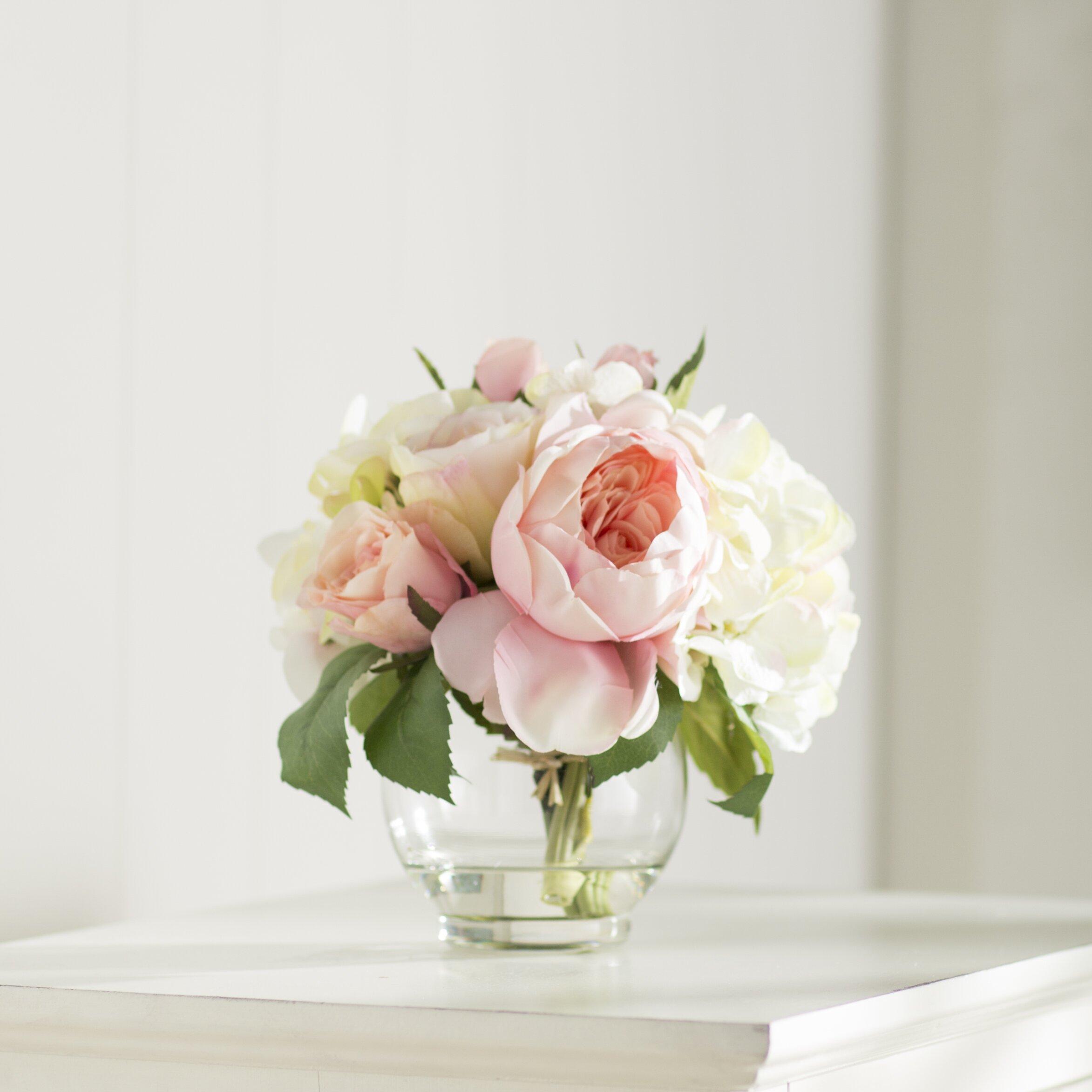 Hydrangea Basket Arrangement : Lark manor roses and hydrangea bouquet reviews wayfair