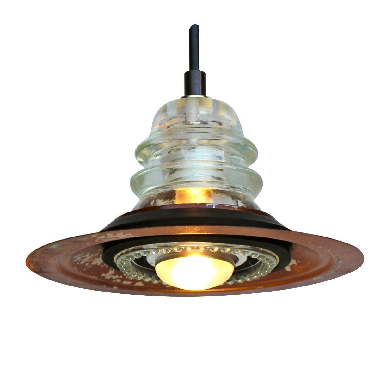 Insulator pendant lights vintage repurposed railroad for Antique insulator pendant lights